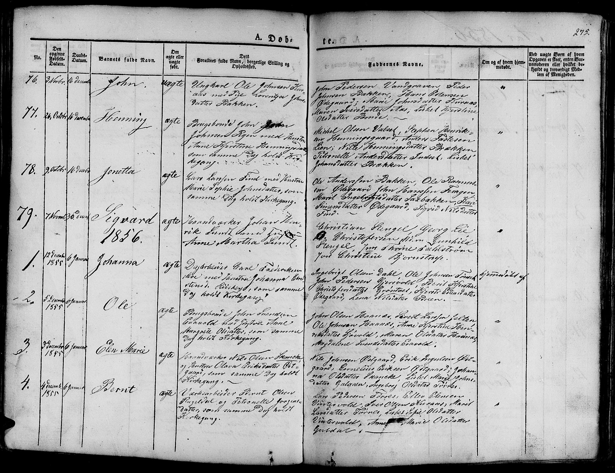 SAT, Ministerialprotokoller, klokkerbøker og fødselsregistre - Sør-Trøndelag, 681/L0938: Klokkerbok nr. 681C02, 1829-1879, s. 275