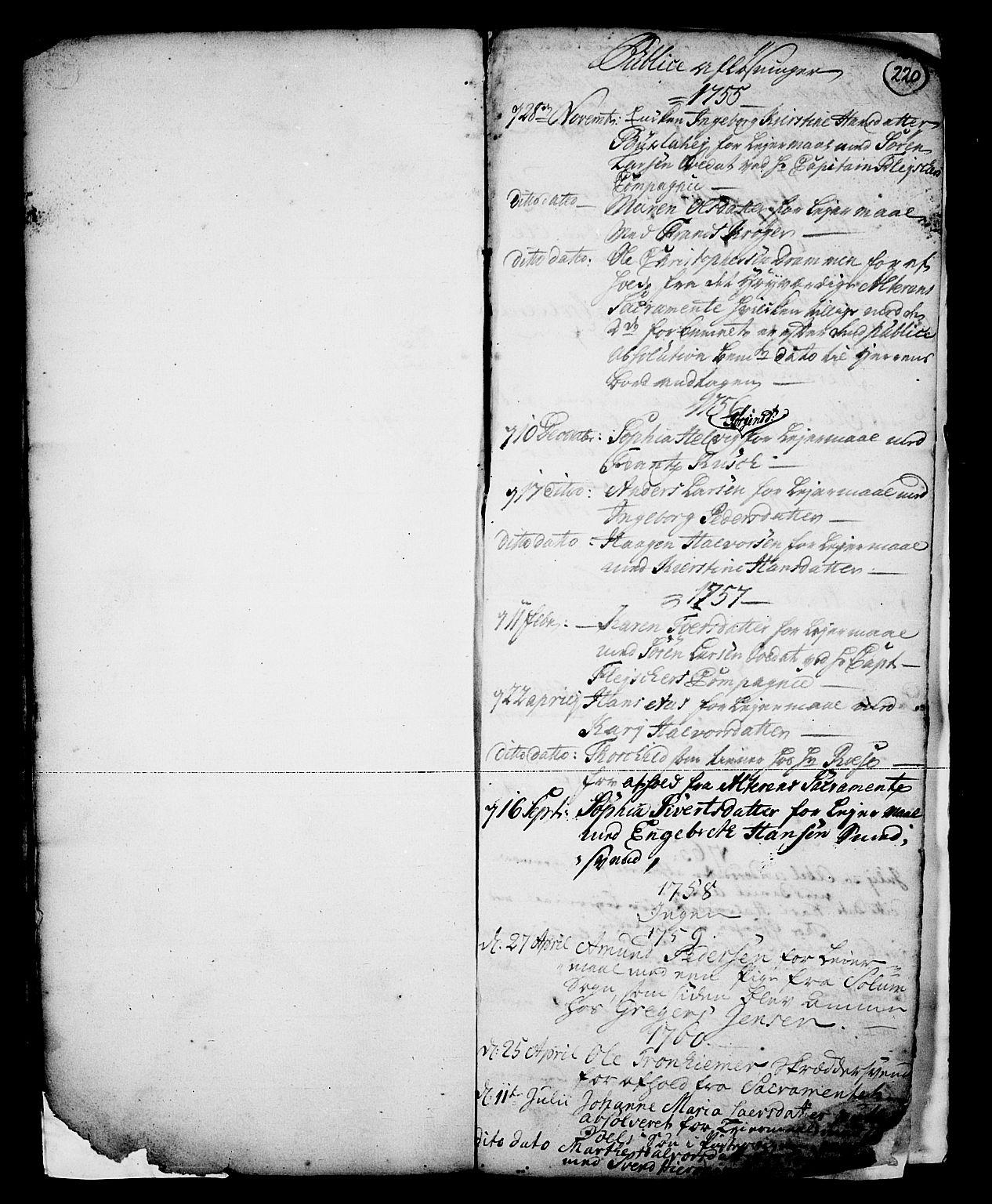 SAKO, Skien kirkebøker, G/Ga/L0001: Klokkerbok nr. 1, 1756-1791, s. 220