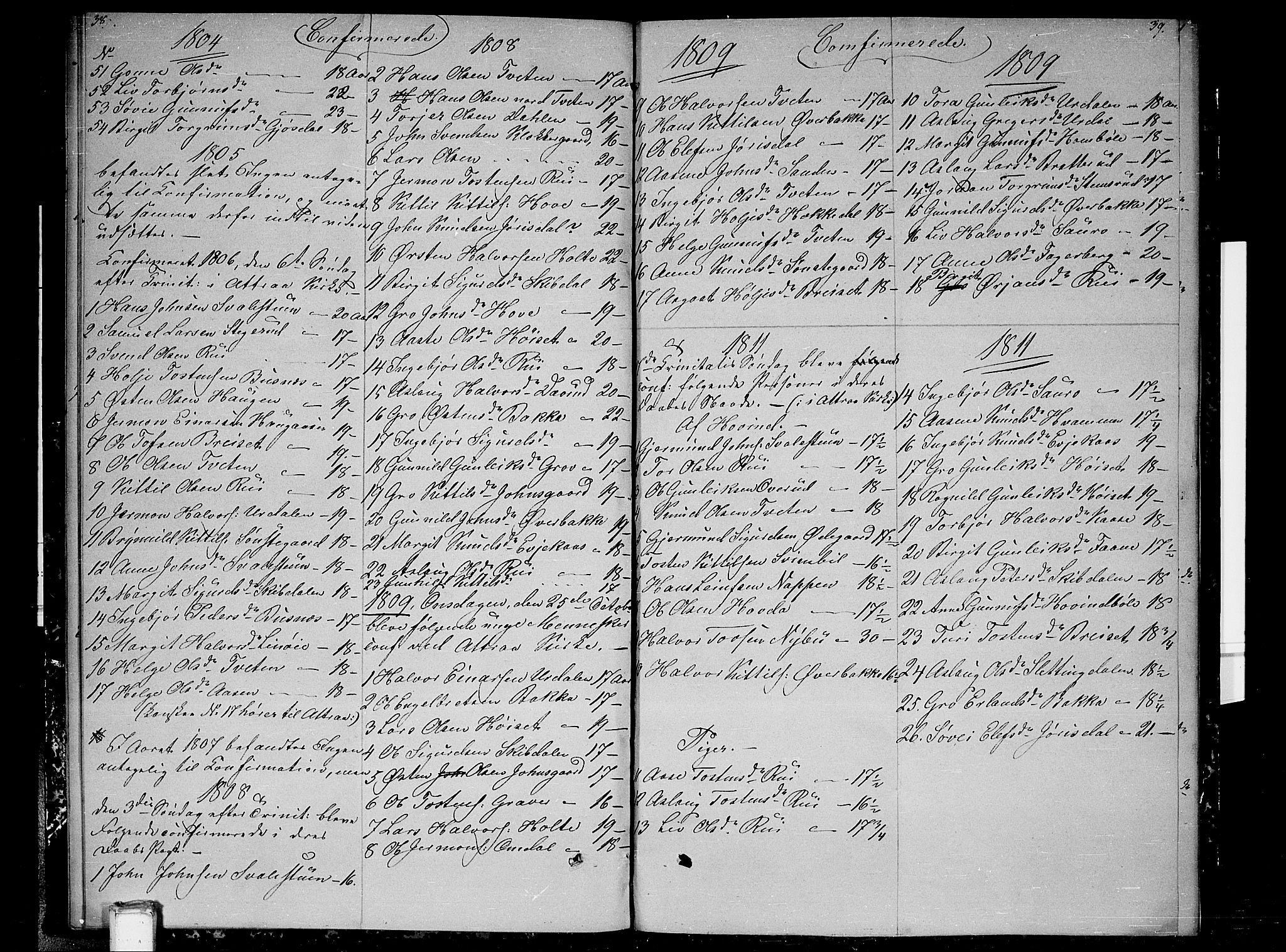 SAKO, Gransherad kirkebøker, F/Fb/L0001: Ministerialbok nr. II 1, 1800-1814, s. 38-39