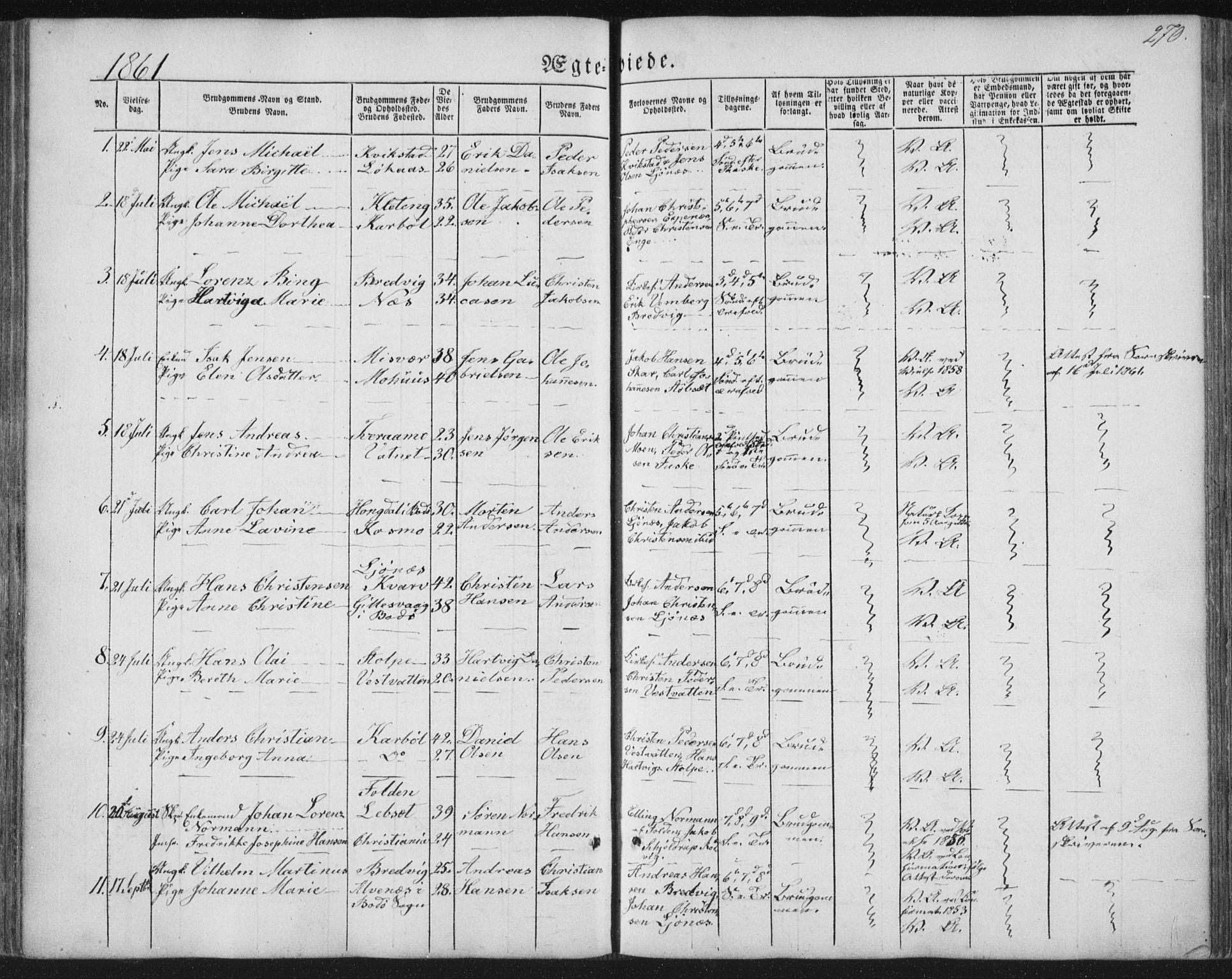 SAT, Ministerialprotokoller, klokkerbøker og fødselsregistre - Nordland, 852/L0738: Ministerialbok nr. 852A08, 1849-1865, s. 270