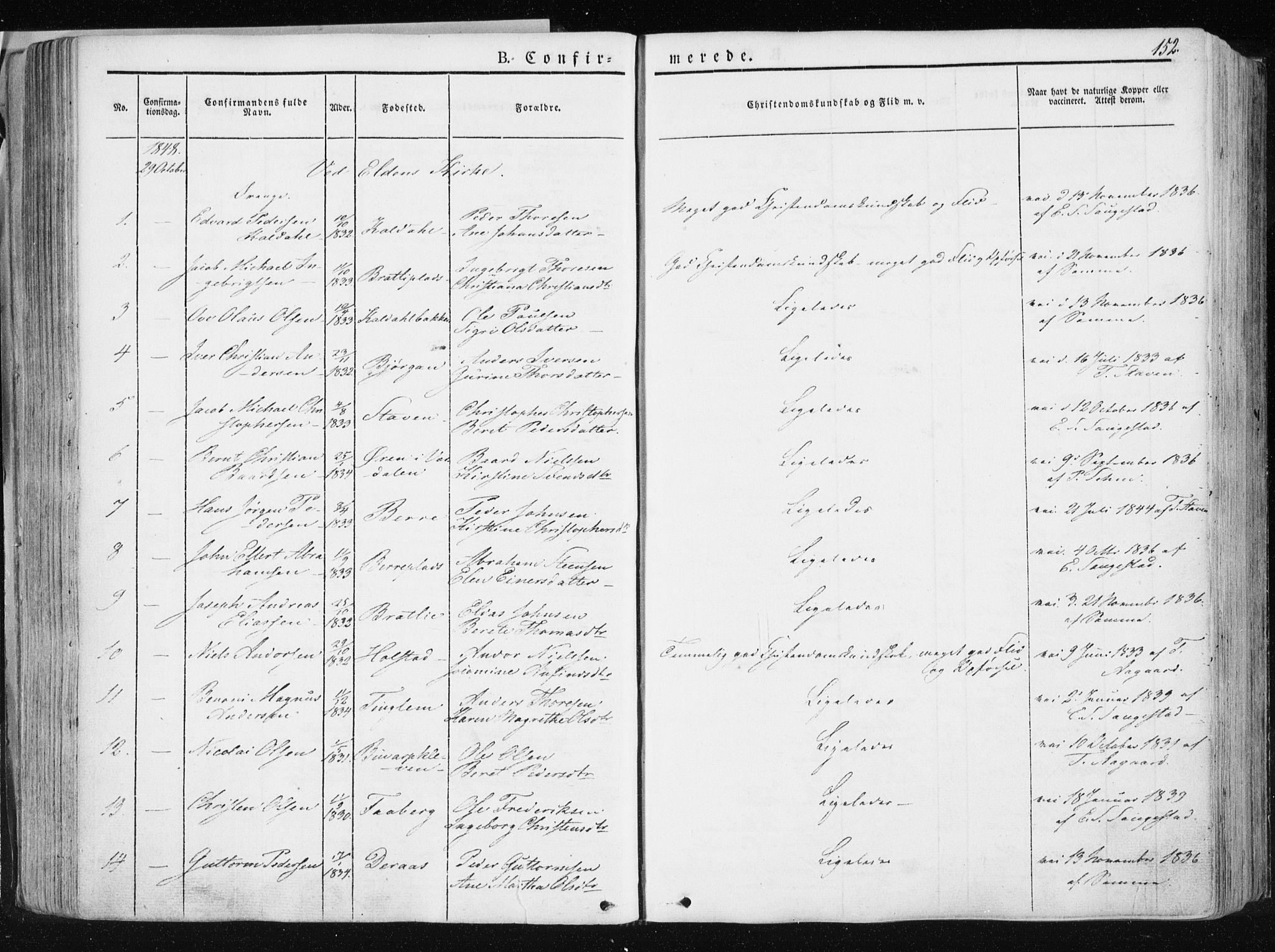 SAT, Ministerialprotokoller, klokkerbøker og fødselsregistre - Nord-Trøndelag, 741/L0393: Ministerialbok nr. 741A07, 1849-1863, s. 152