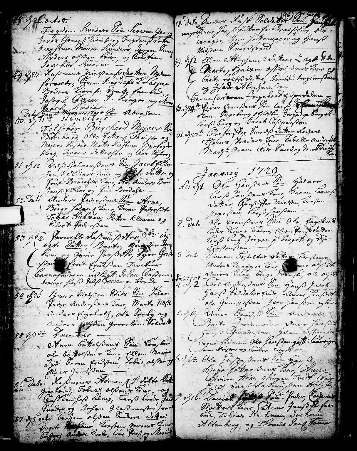 SAKO, Skien kirkebøker, F/Fa/L0002: Ministerialbok nr. 2, 1716-1757, s. 94