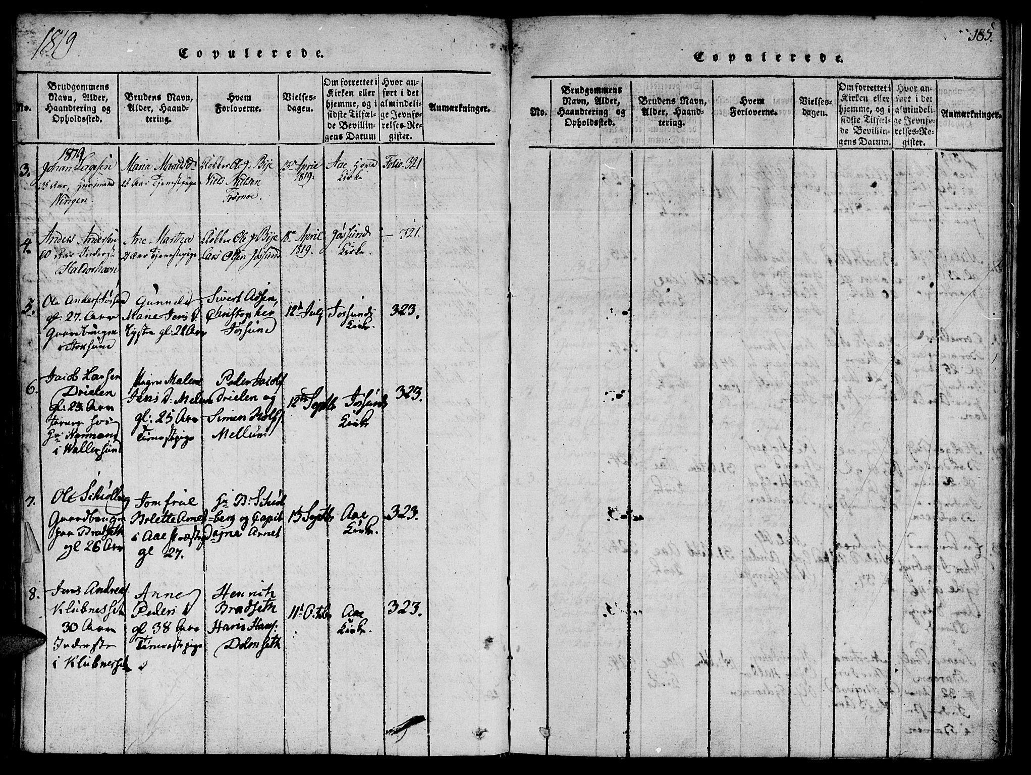 SAT, Ministerialprotokoller, klokkerbøker og fødselsregistre - Sør-Trøndelag, 655/L0675: Ministerialbok nr. 655A04, 1818-1830, s. 185