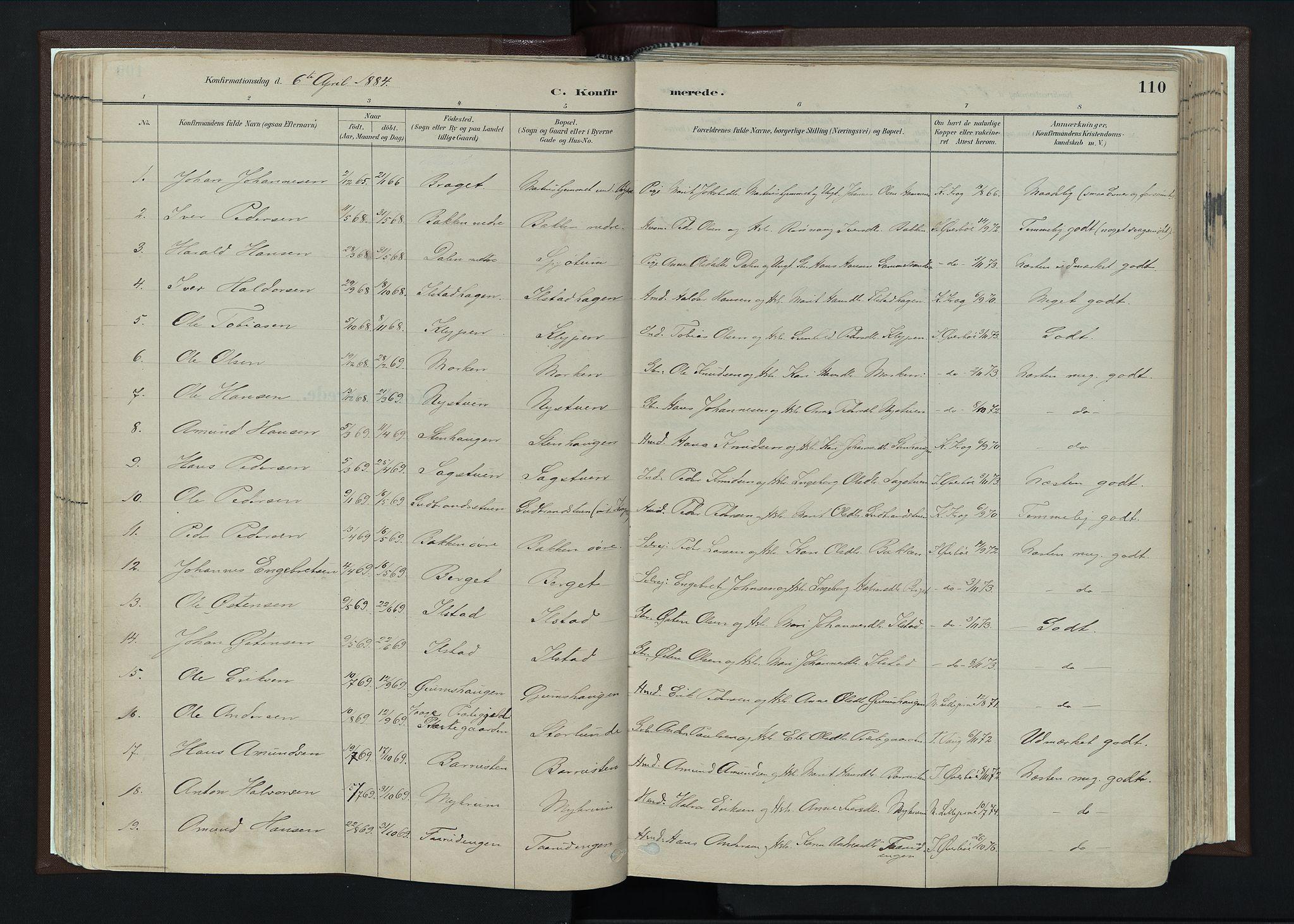 SAH, Nord-Fron prestekontor, Ministerialbok nr. 4, 1884-1914, s. 110