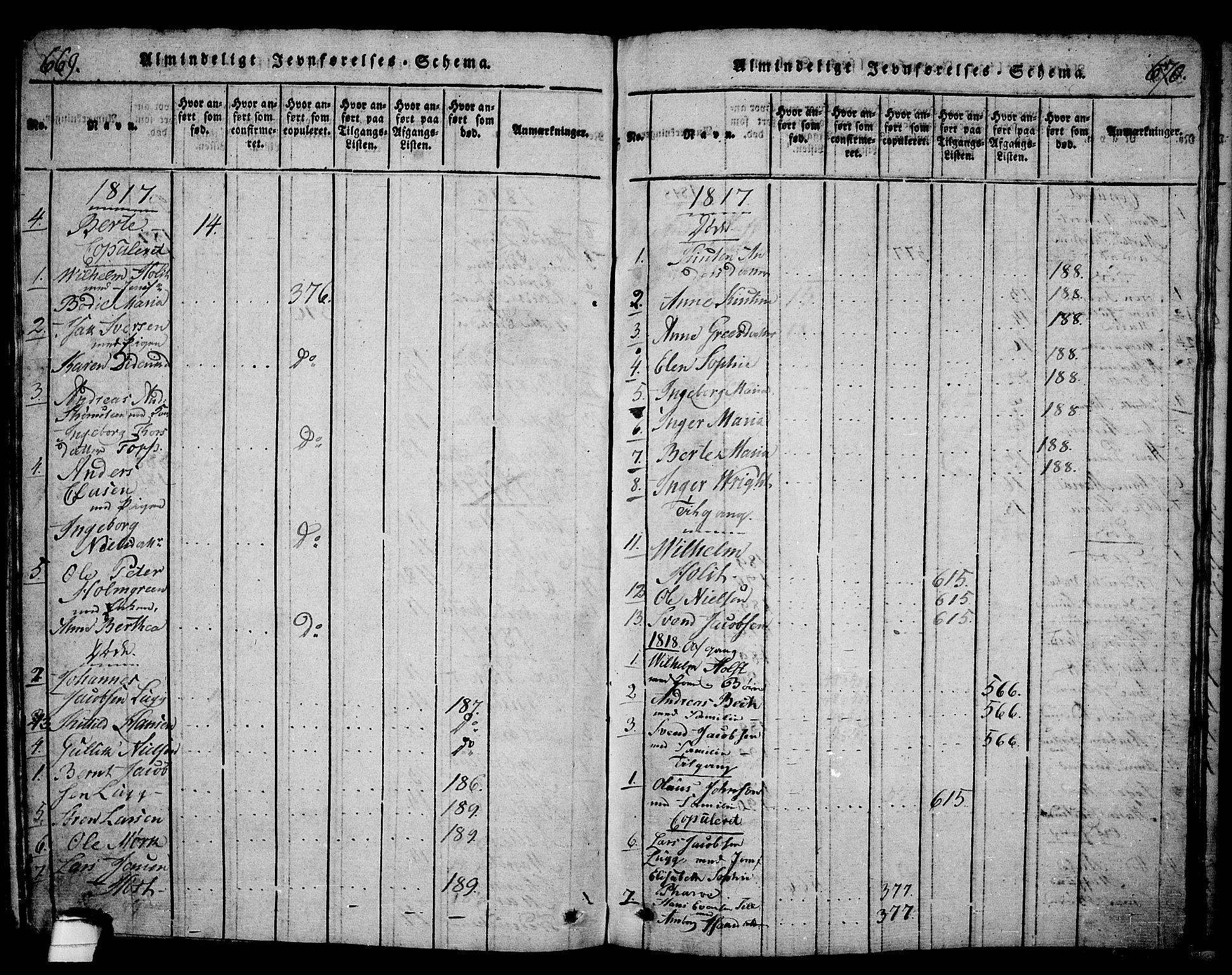 SAKO, Langesund kirkebøker, G/Ga/L0003: Klokkerbok nr. 3, 1815-1858, s. 669-670