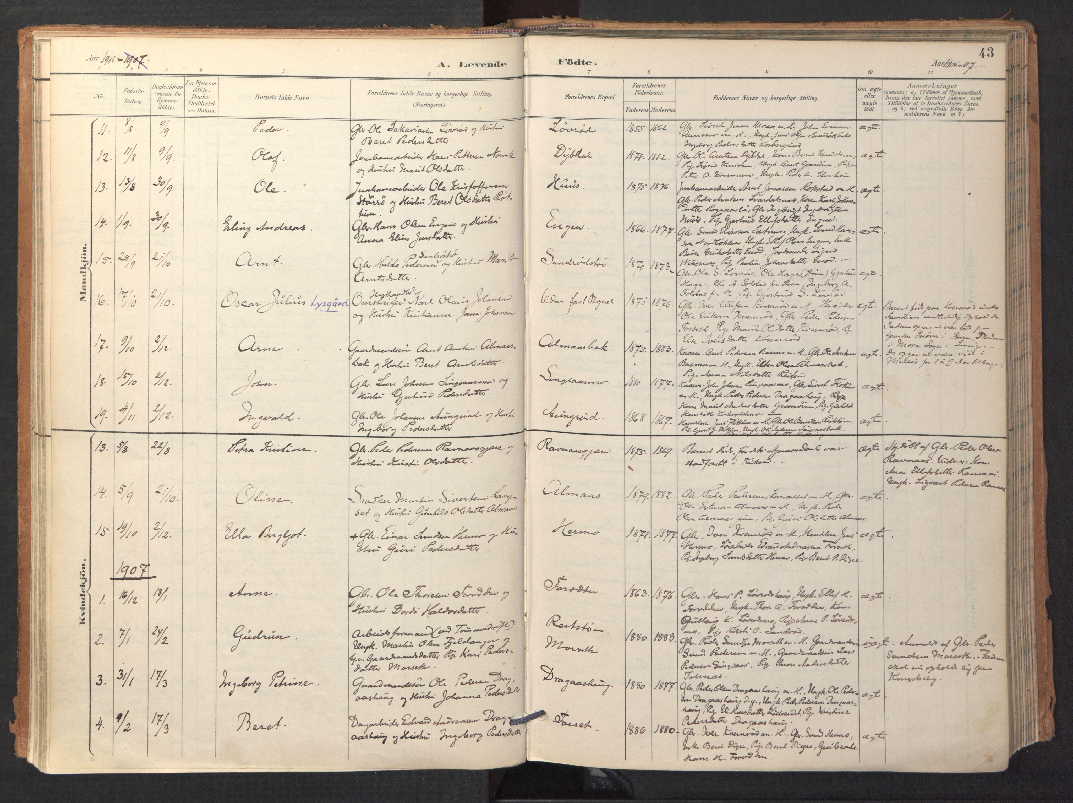 SAT, Ministerialprotokoller, klokkerbøker og fødselsregistre - Sør-Trøndelag, 688/L1025: Ministerialbok nr. 688A02, 1891-1909, s. 43