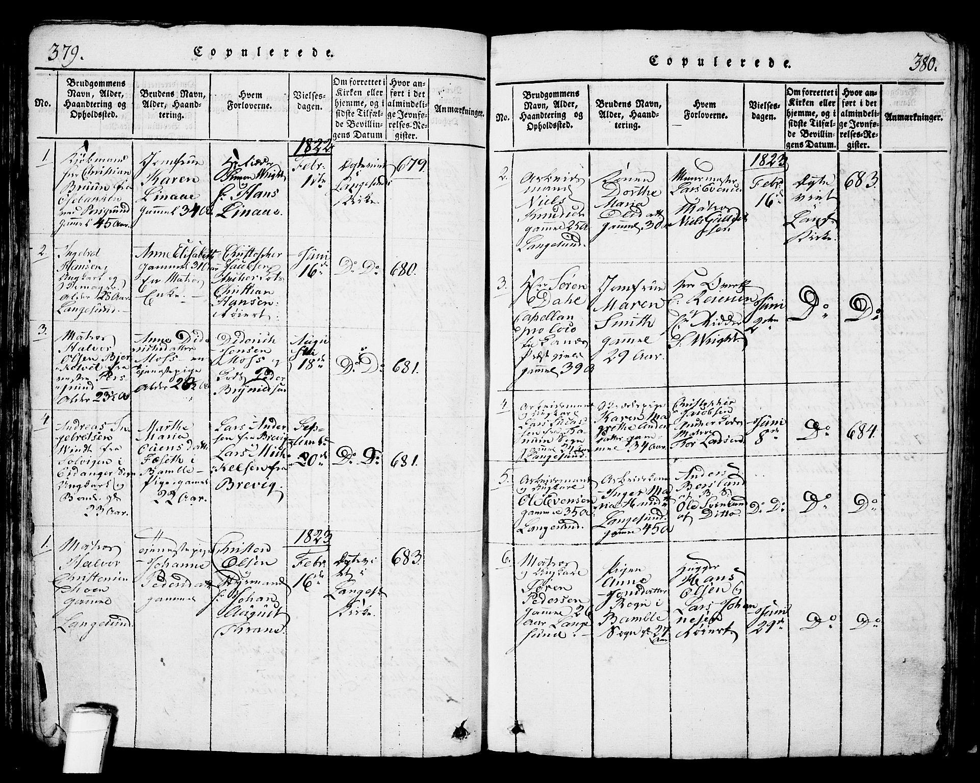 SAKO, Langesund kirkebøker, G/Ga/L0003: Klokkerbok nr. 3, 1815-1858, s. 379-380