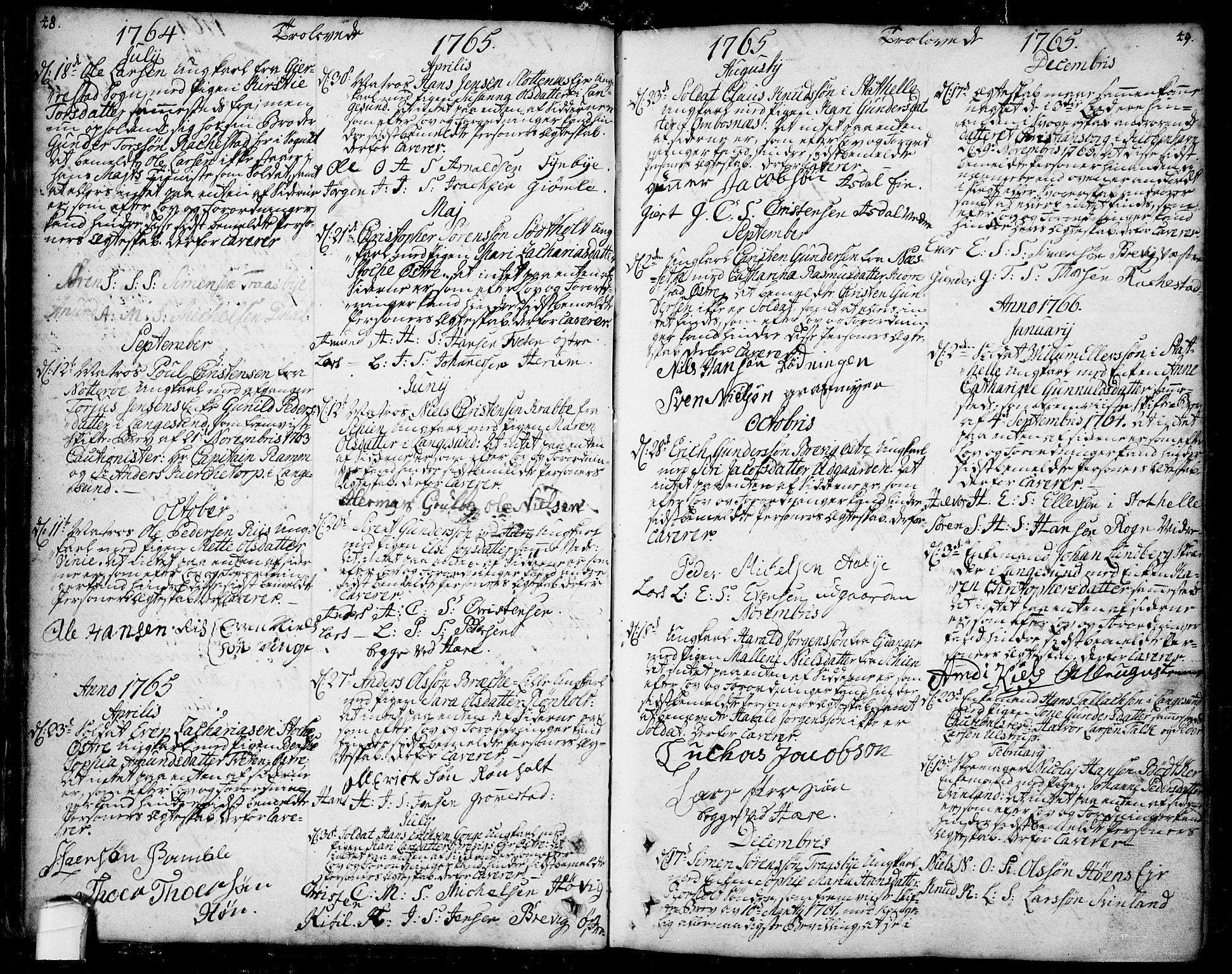 SAKO, Bamble kirkebøker, F/Fa/L0001: Ministerialbok nr. I 1, 1702-1774, s. 48-49