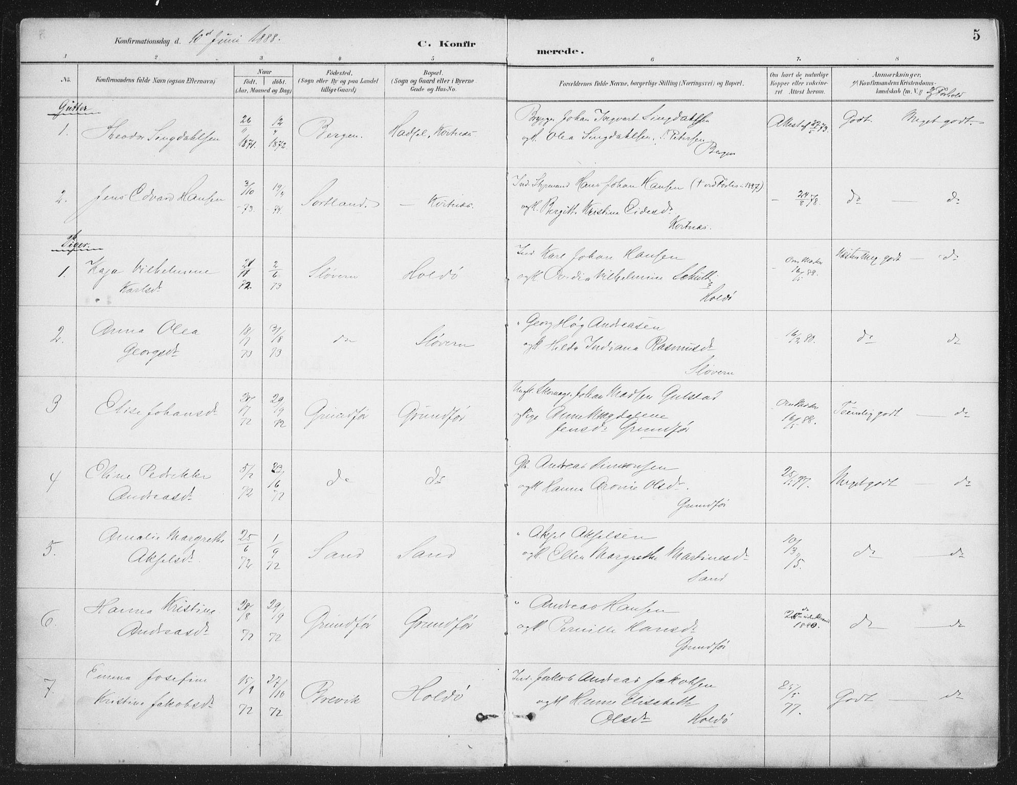SAT, Ministerialprotokoller, klokkerbøker og fødselsregistre - Nordland, 888/L1245: Ministerialbok nr. 888A11, 1888-1900, s. 5