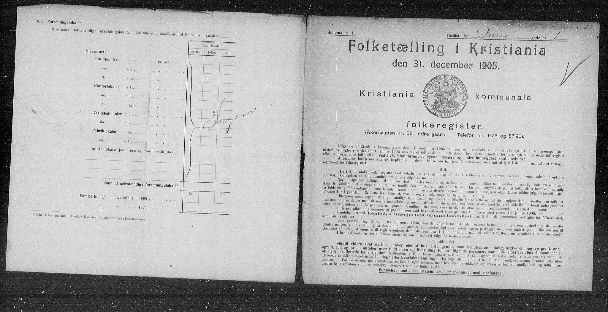 OBA, Kommunal folketelling 1905 for Kristiania kjøpstad, 1905, s. 7962