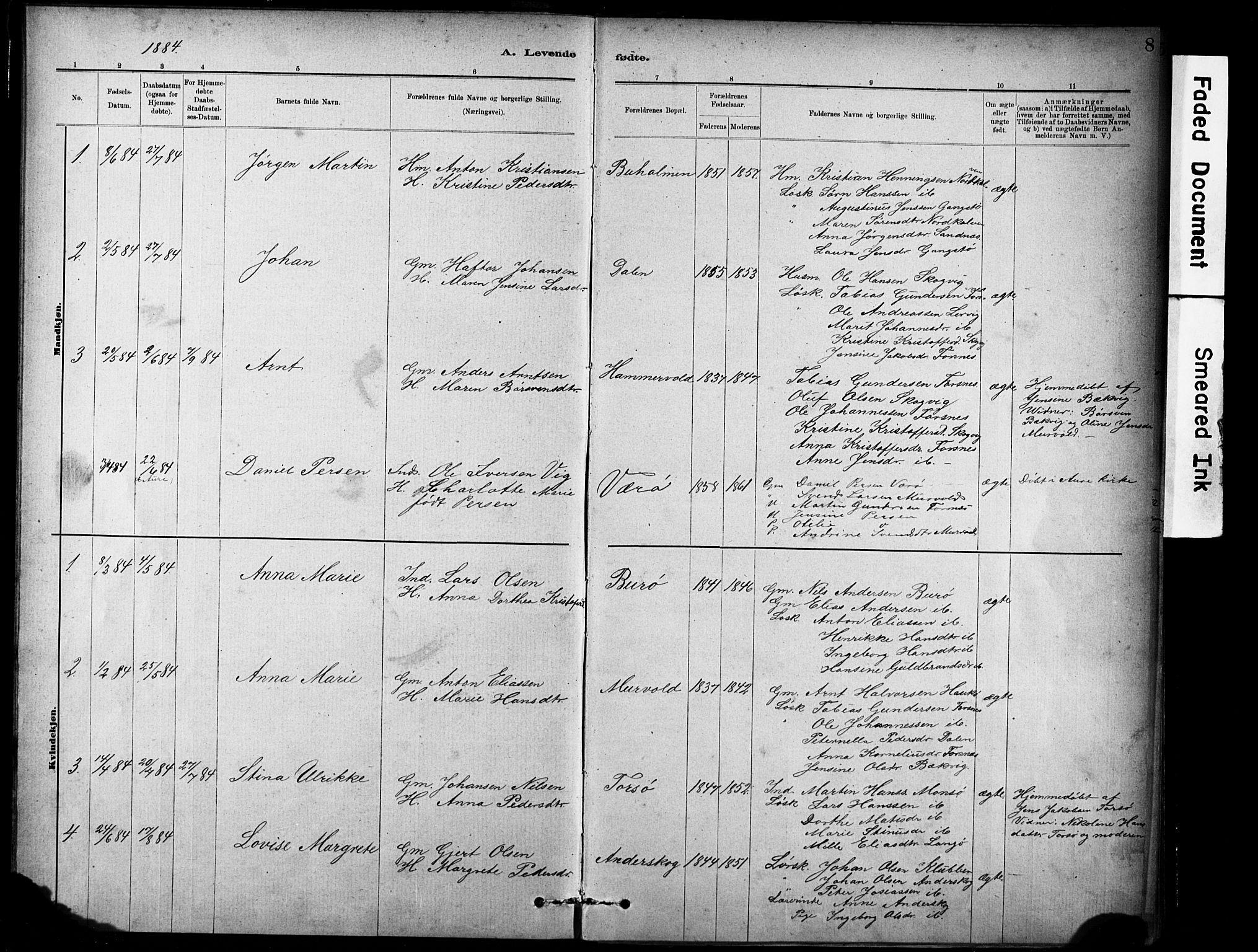 SAT, Ministerialprotokoller, klokkerbøker og fødselsregistre - Sør-Trøndelag, 635/L0551: Ministerialbok nr. 635A01, 1882-1899, s. 8