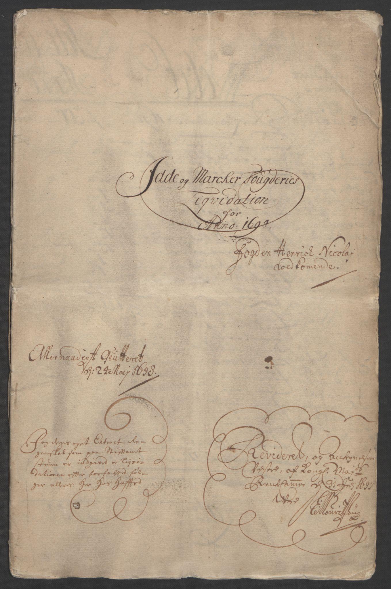 RA, Rentekammeret inntil 1814, Reviderte regnskaper, Fogderegnskap, R01/L0012: Fogderegnskap Idd og Marker, 1694-1695, s. 3
