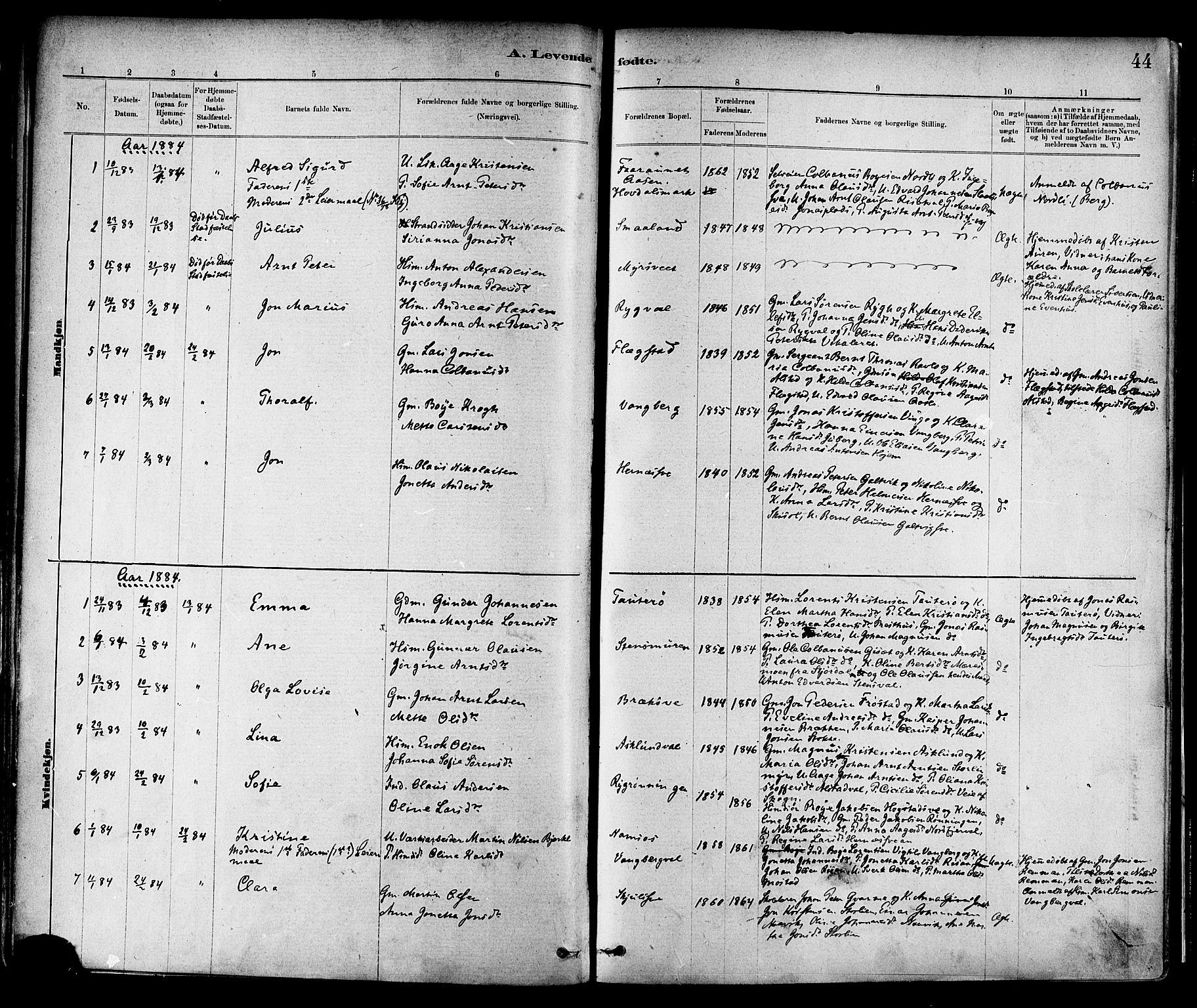 SAT, Ministerialprotokoller, klokkerbøker og fødselsregistre - Nord-Trøndelag, 713/L0120: Ministerialbok nr. 713A09, 1878-1887, s. 44