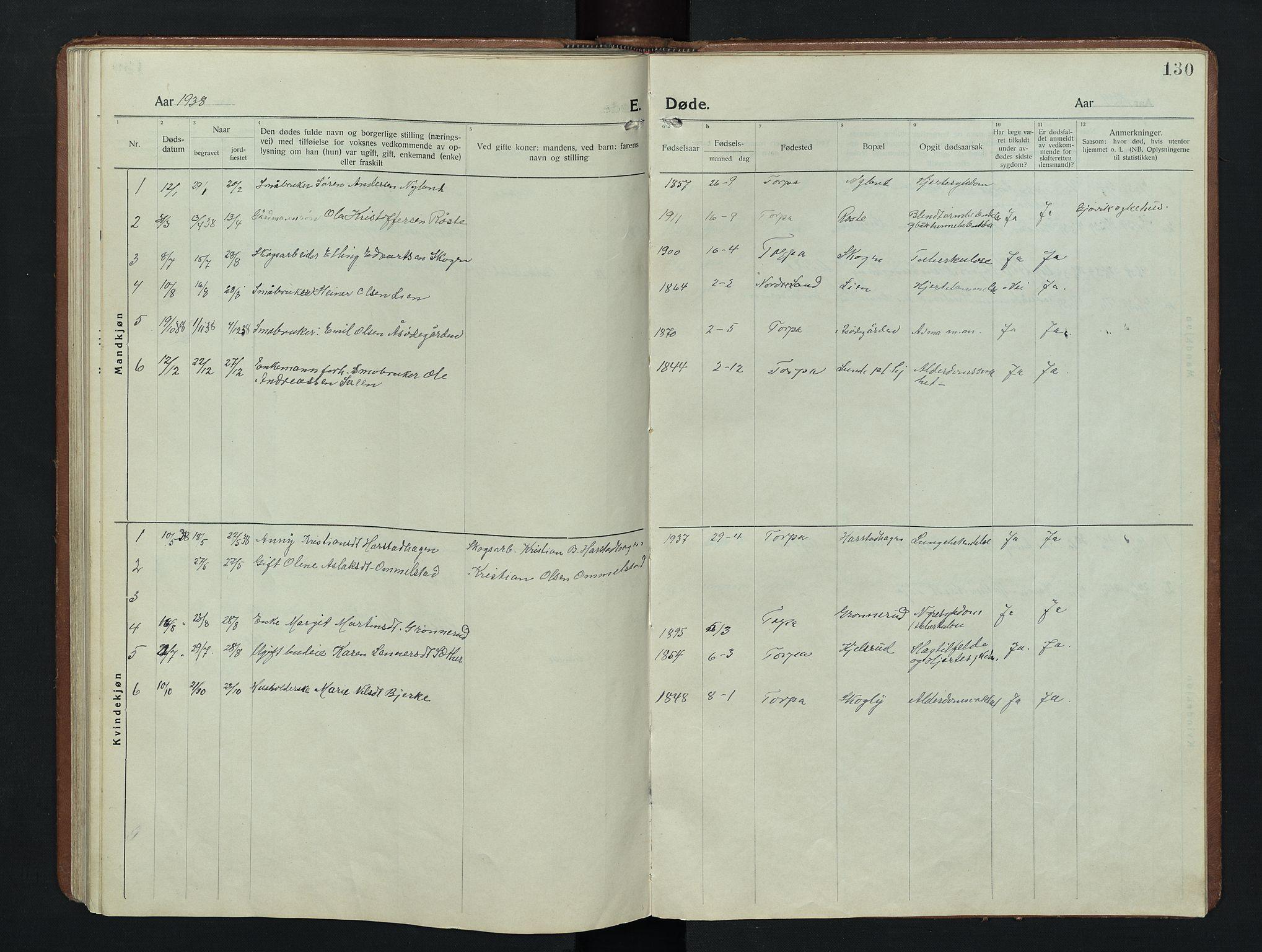 SAH, Nordre Land prestekontor, Klokkerbok nr. 9, 1921-1956, s. 130