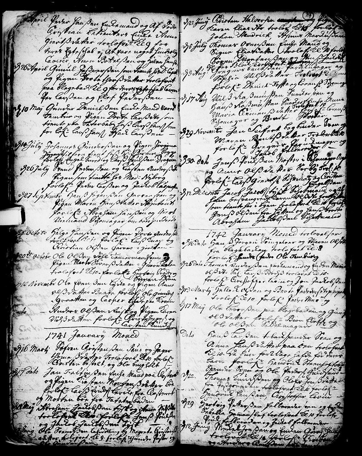 SAKO, Skien kirkebøker, F/Fa/L0002: Ministerialbok nr. 2, 1716-1757, s. 14