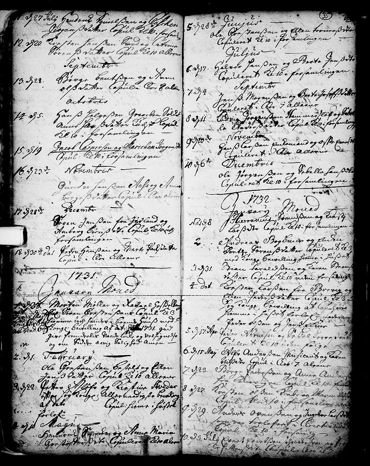 SAKO, Skien kirkebøker, F/Fa/L0002: Ministerialbok nr. 2, 1716-1757, s. 35