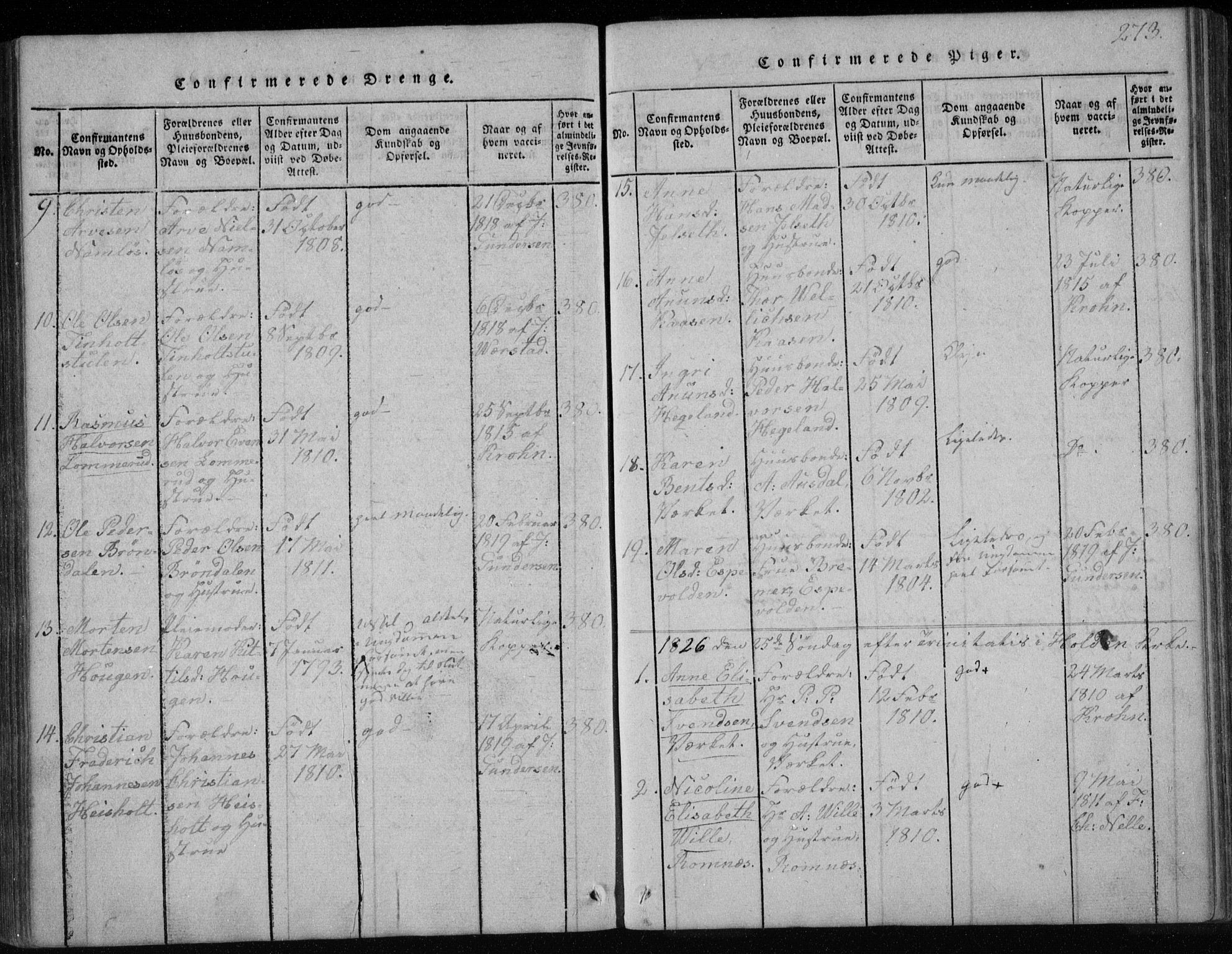 SAKO, Holla kirkebøker, F/Fa/L0003: Ministerialbok nr. 3, 1815-1830, s. 273