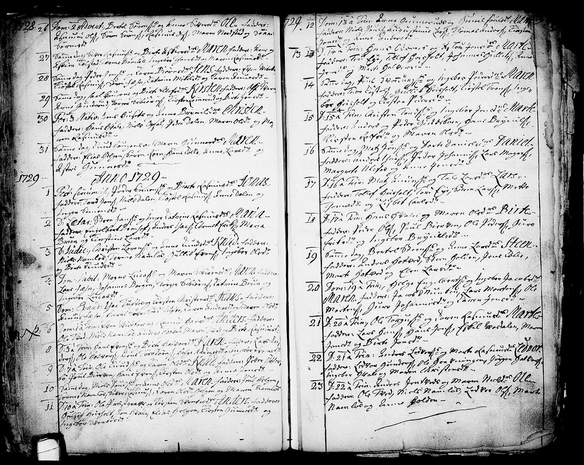 SAKO, Holla kirkebøker, F/Fa/L0001: Ministerialbok nr. 1, 1717-1779, s. 16