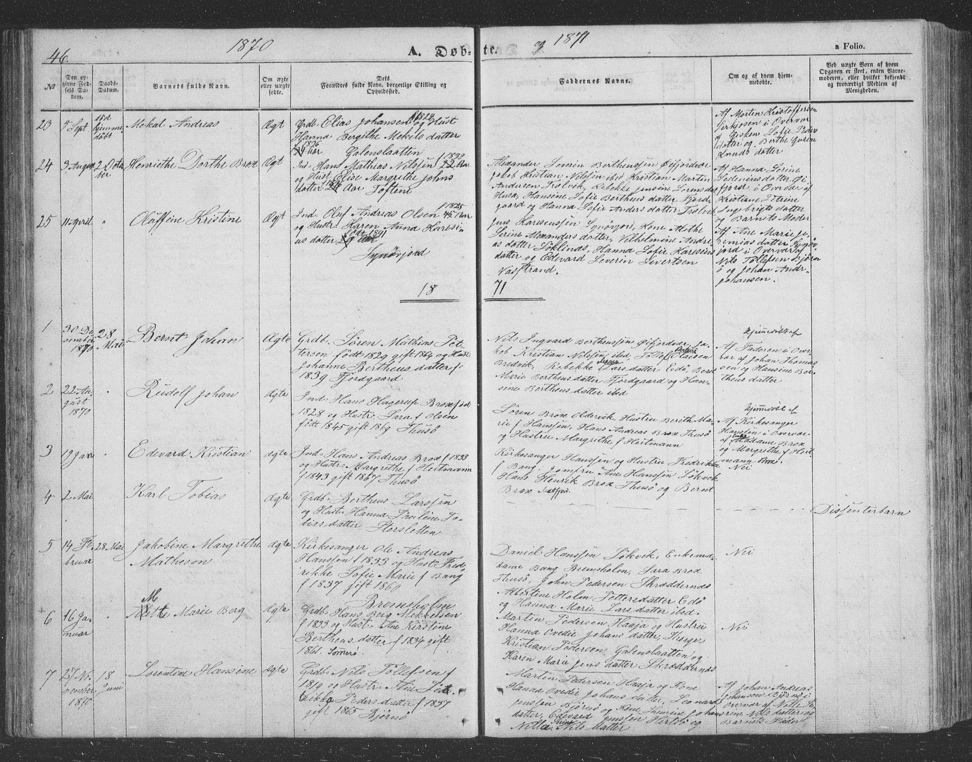 SATØ, Lenvik sokneprestembete, H/Ha: Klokkerbok nr. 20, 1855-1883, s. 46