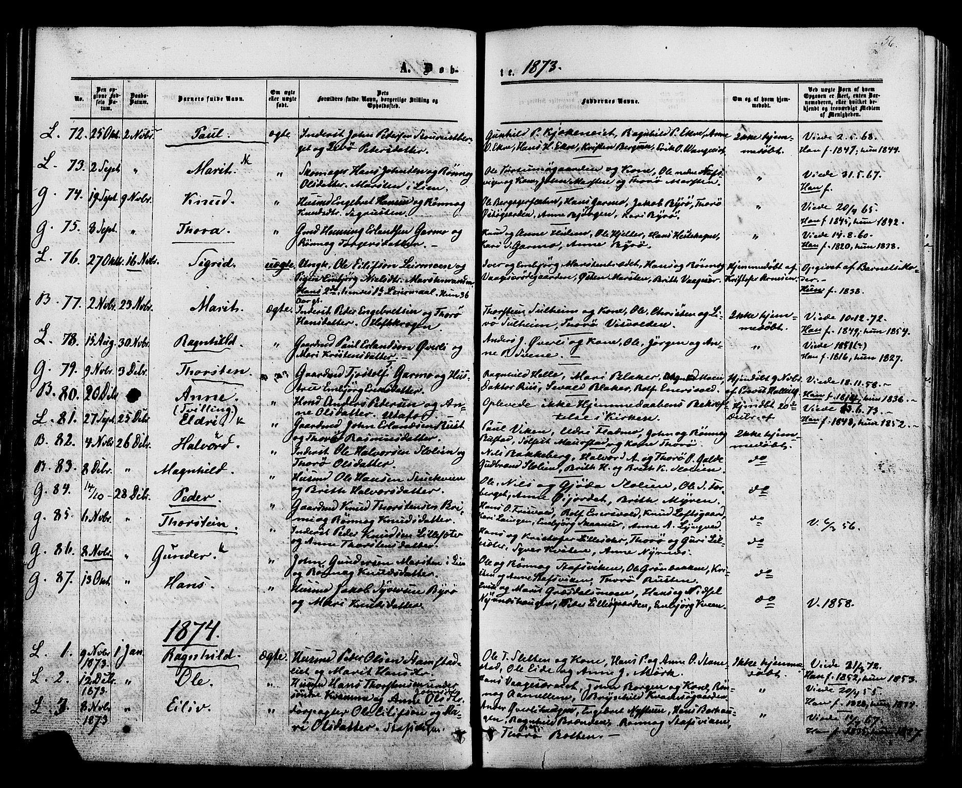 SAH, Lom prestekontor, K/L0007: Ministerialbok nr. 7, 1863-1884, s. 56