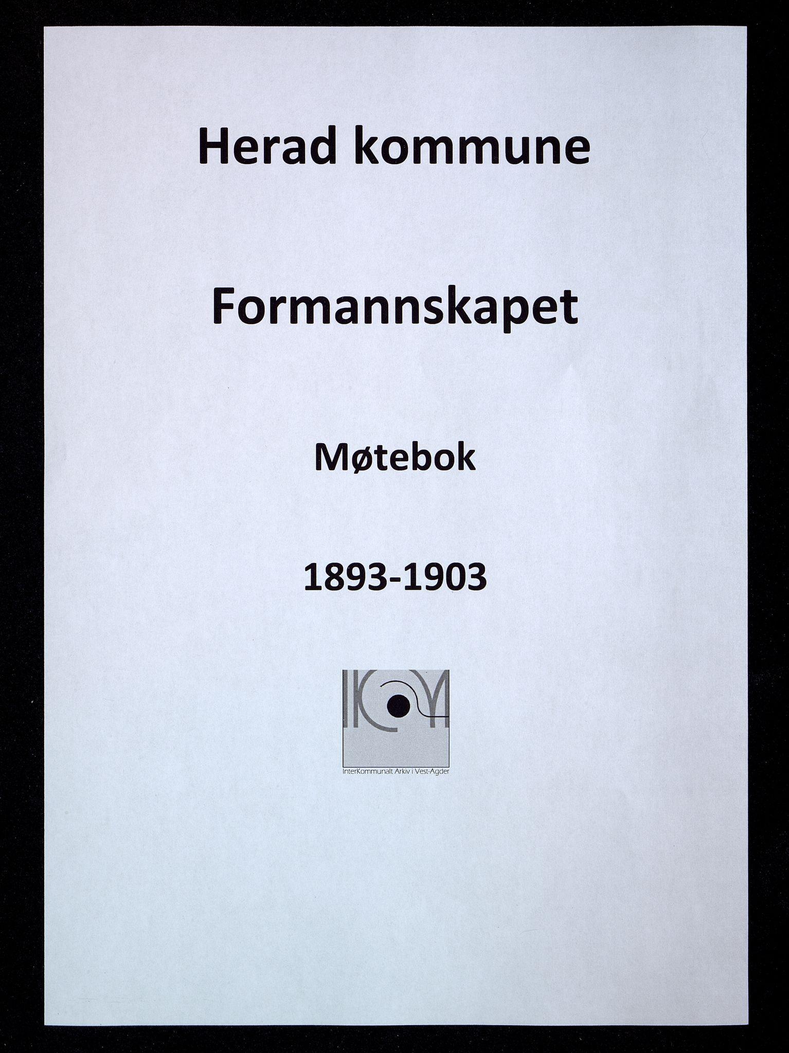 IKAV, Herad kommune - Formannskapet, A/L0003: Møtebok formannskapet, 1893-1903