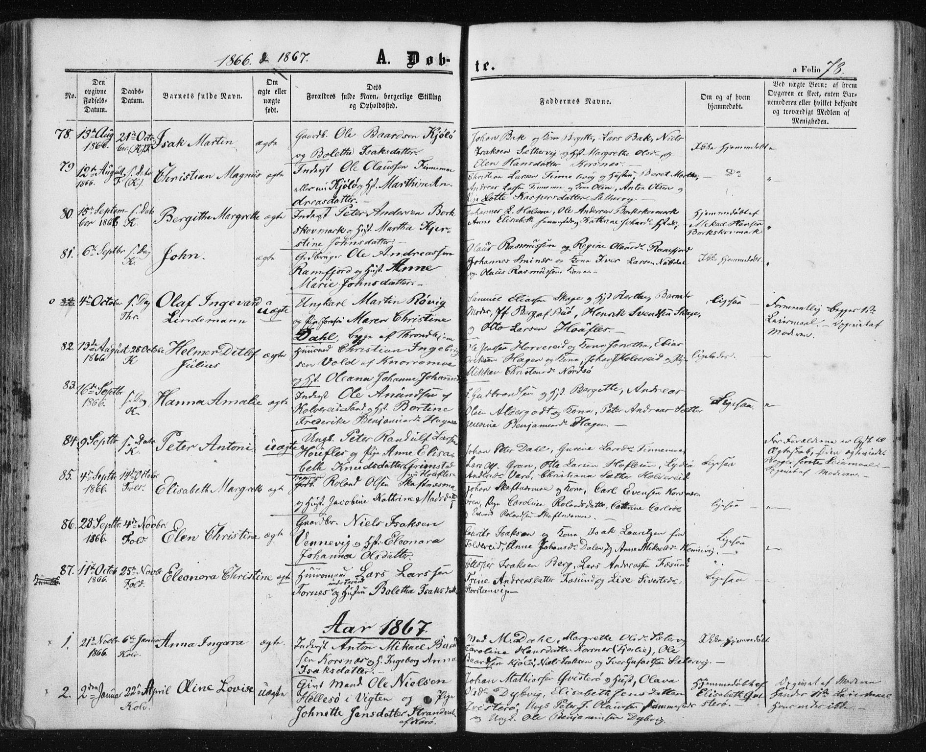 SAT, Ministerialprotokoller, klokkerbøker og fødselsregistre - Nord-Trøndelag, 780/L0641: Ministerialbok nr. 780A06, 1857-1874, s. 78