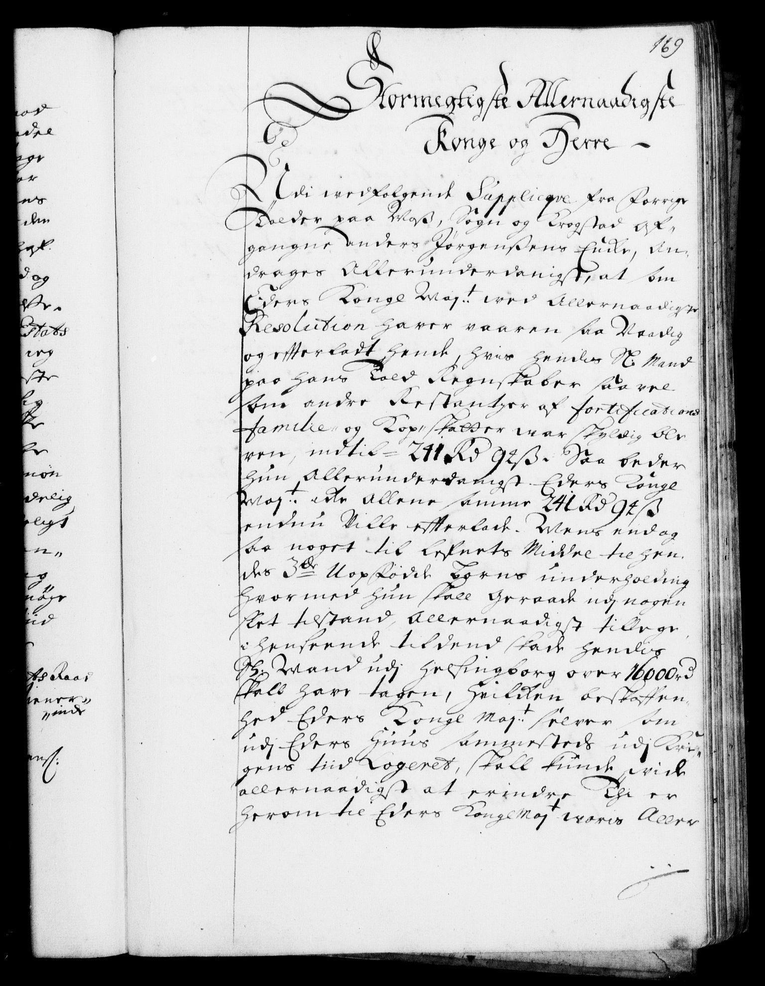 RA, Rentekammeret, Kammerkanselliet, G/Gf/Gfa/L0001: Resolusjonsprotokoll med register (merket RK 52.1), 1695-1706, s. 169