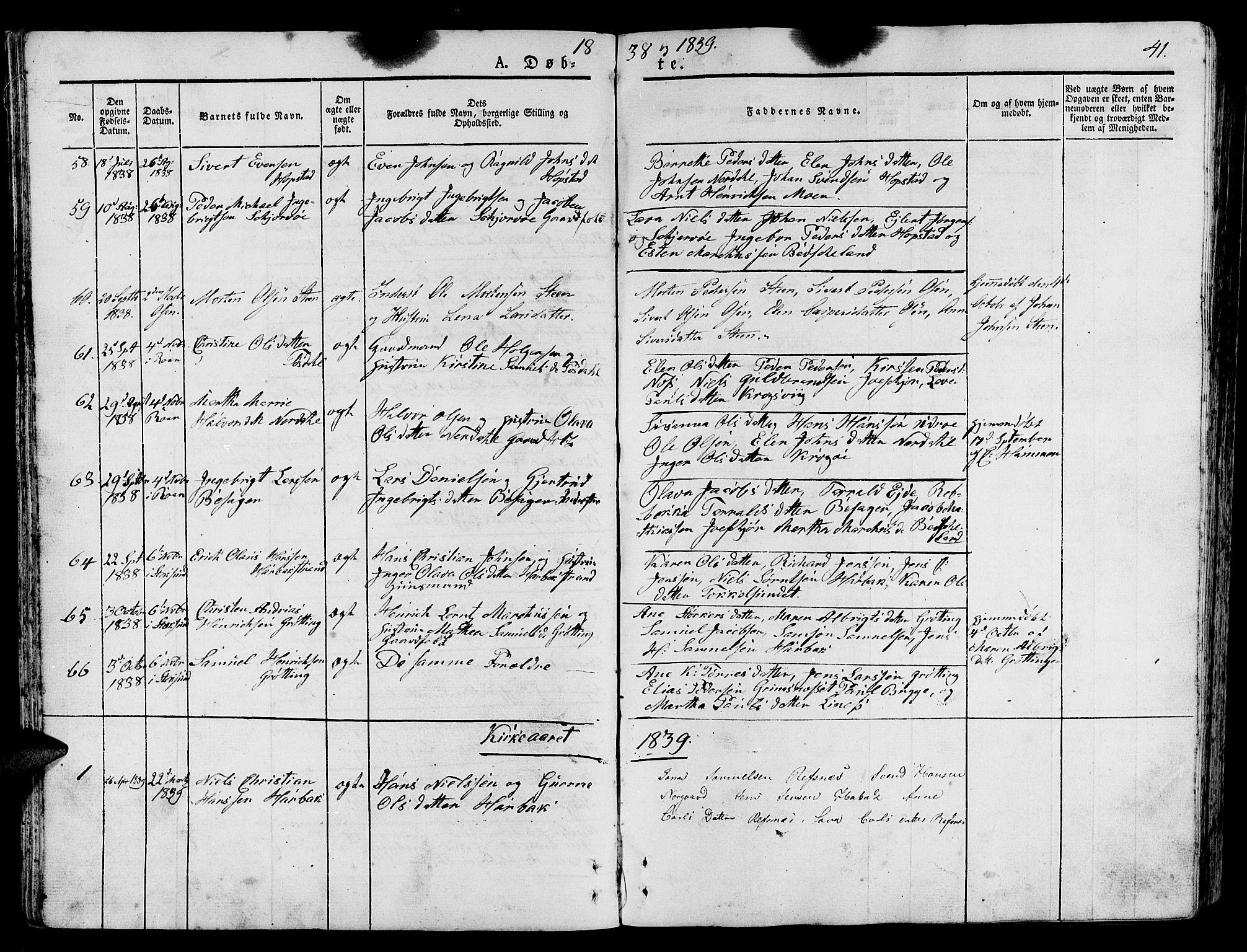 SAT, Ministerialprotokoller, klokkerbøker og fødselsregistre - Sør-Trøndelag, 657/L0703: Ministerialbok nr. 657A04, 1831-1846, s. 41