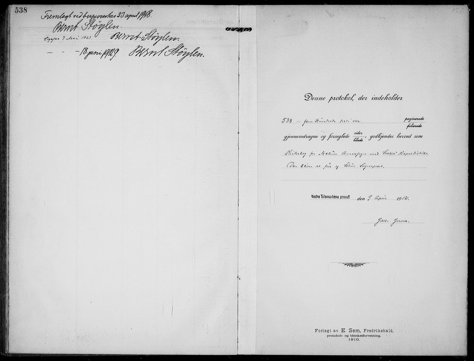 SAKO, Solum kirkebøker, F/Fb/L0004: Ministerialbok nr. II 4, 1913-1924