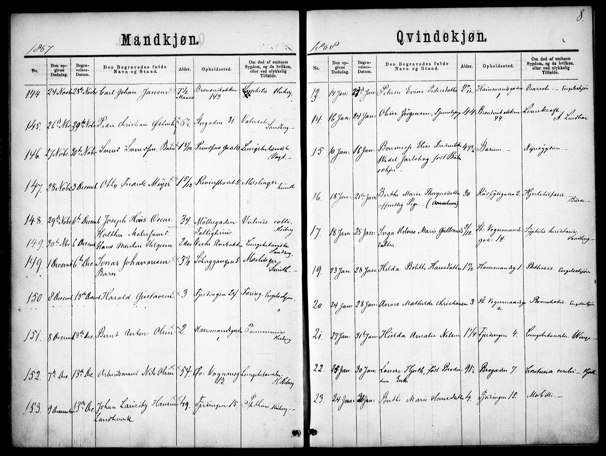 SAO, Oslo domkirke Kirkebøker, F/Fa/L0026: Ministerialbok nr. 26, 1867-1884, s. 8