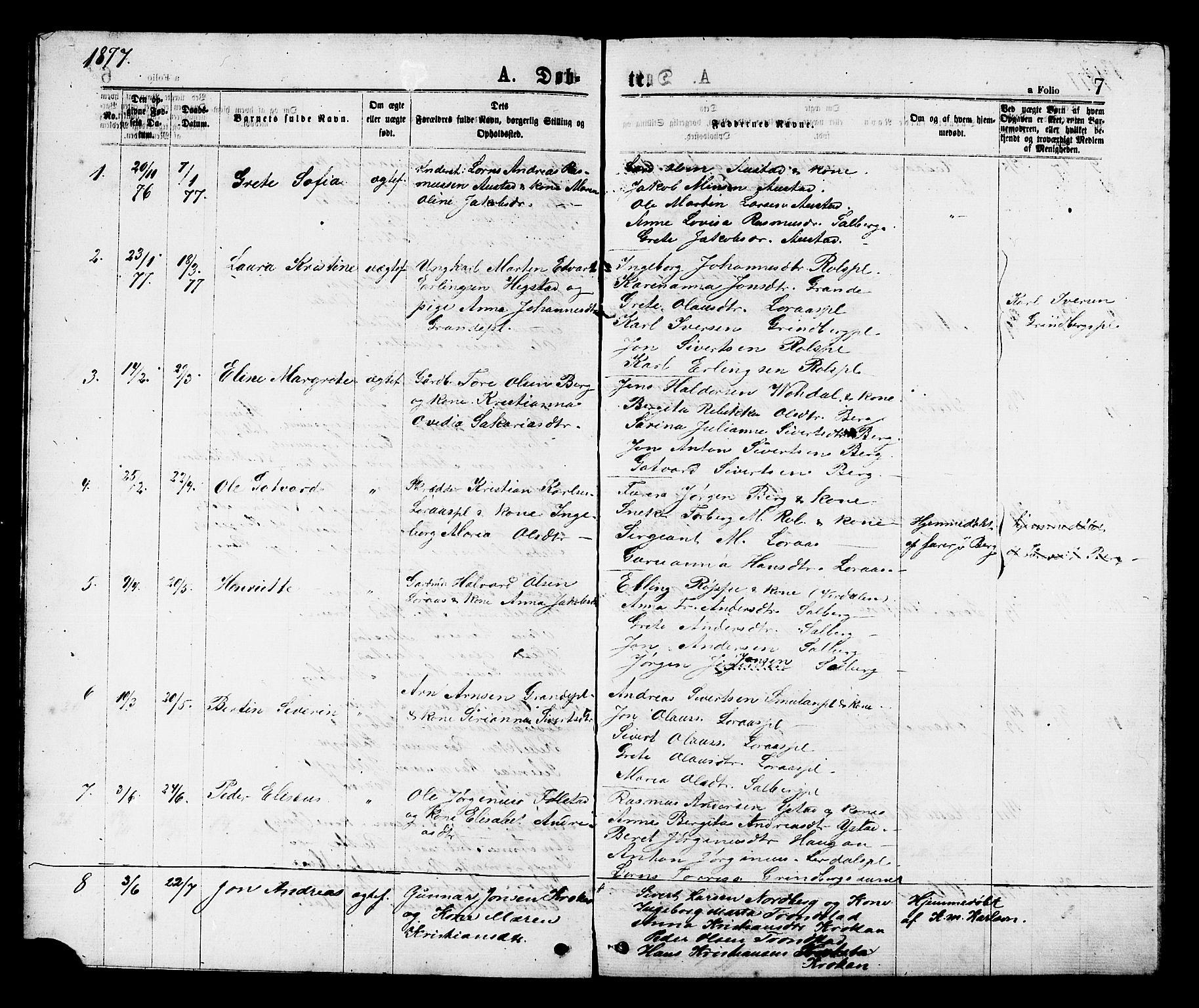 SAT, Ministerialprotokoller, klokkerbøker og fødselsregistre - Nord-Trøndelag, 731/L0311: Klokkerbok nr. 731C02, 1875-1911, s. 7