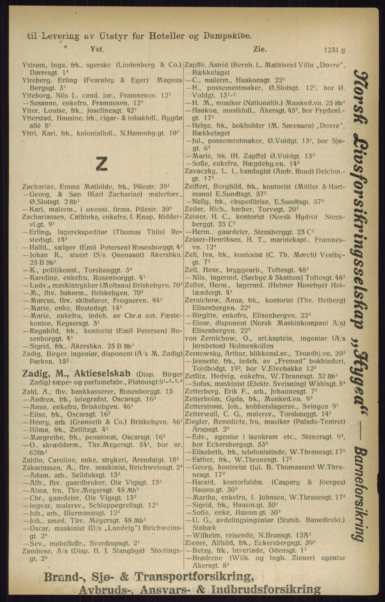 RA, Kristiania adressebok (publikasjon)*, 1916, s. 1231