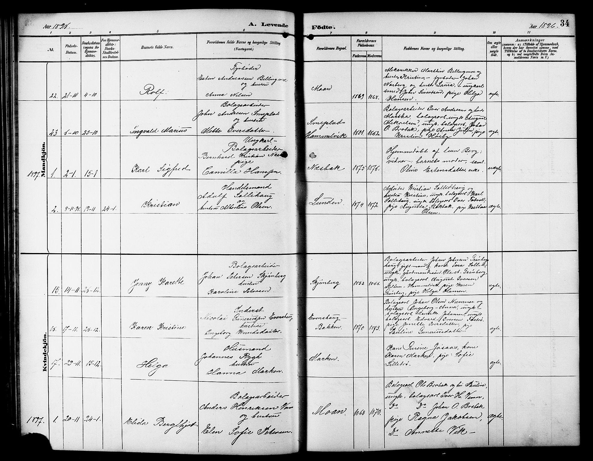 SAT, Ministerialprotokoller, klokkerbøker og fødselsregistre - Sør-Trøndelag, 617/L0431: Klokkerbok nr. 617C01, 1889-1910, s. 34
