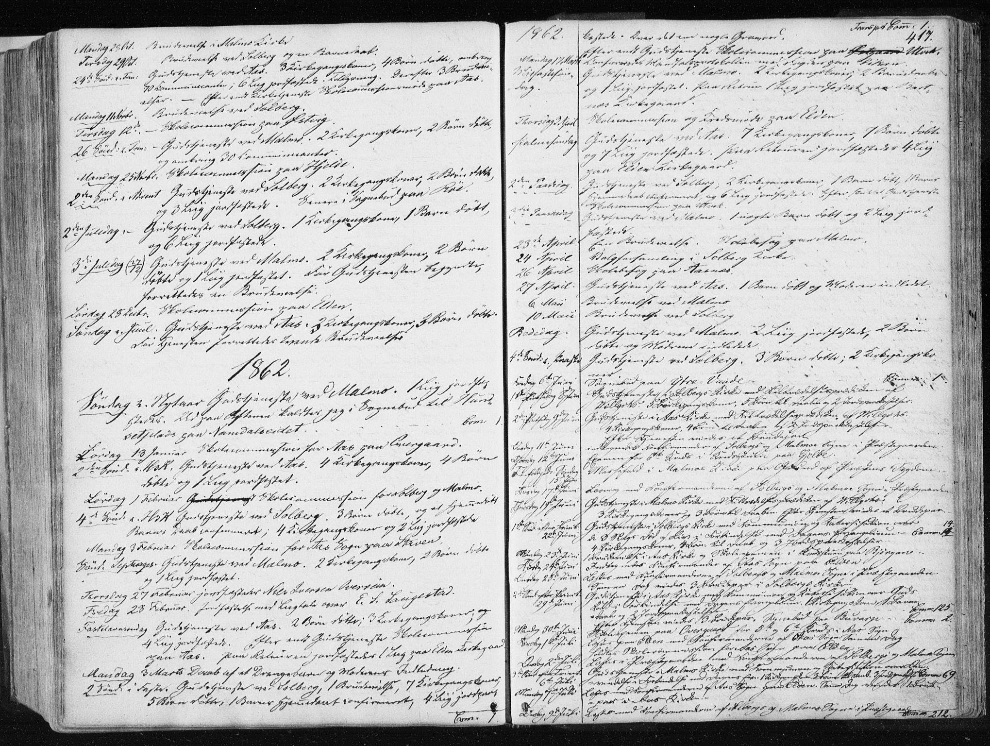 SAT, Ministerialprotokoller, klokkerbøker og fødselsregistre - Nord-Trøndelag, 741/L0393: Ministerialbok nr. 741A07, 1849-1863, s. 417