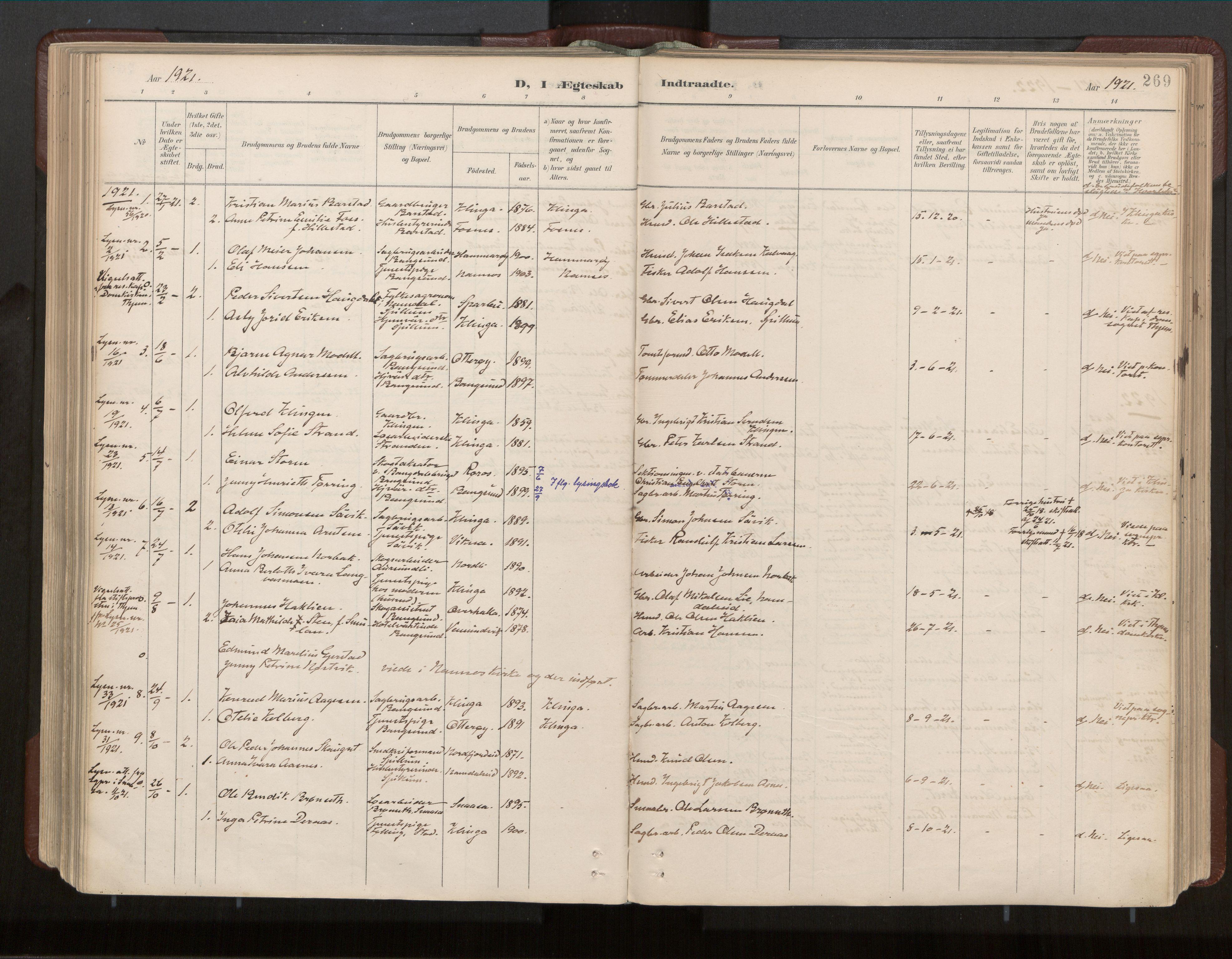 SAT, Ministerialprotokoller, klokkerbøker og fødselsregistre - Nord-Trøndelag, 770/L0589: Ministerialbok nr. 770A03, 1887-1929, s. 269
