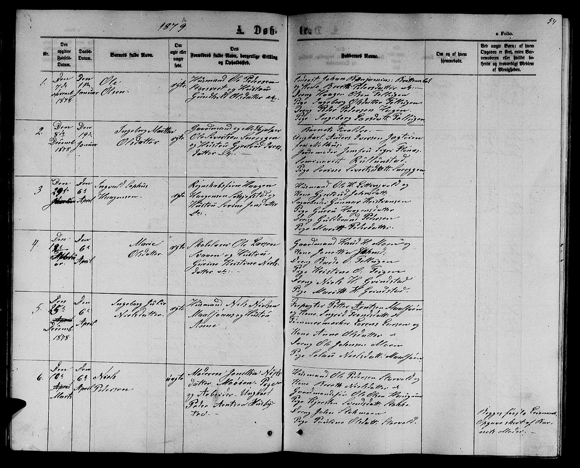 SAT, Ministerialprotokoller, klokkerbøker og fødselsregistre - Sør-Trøndelag, 618/L0451: Klokkerbok nr. 618C02, 1865-1883, s. 54