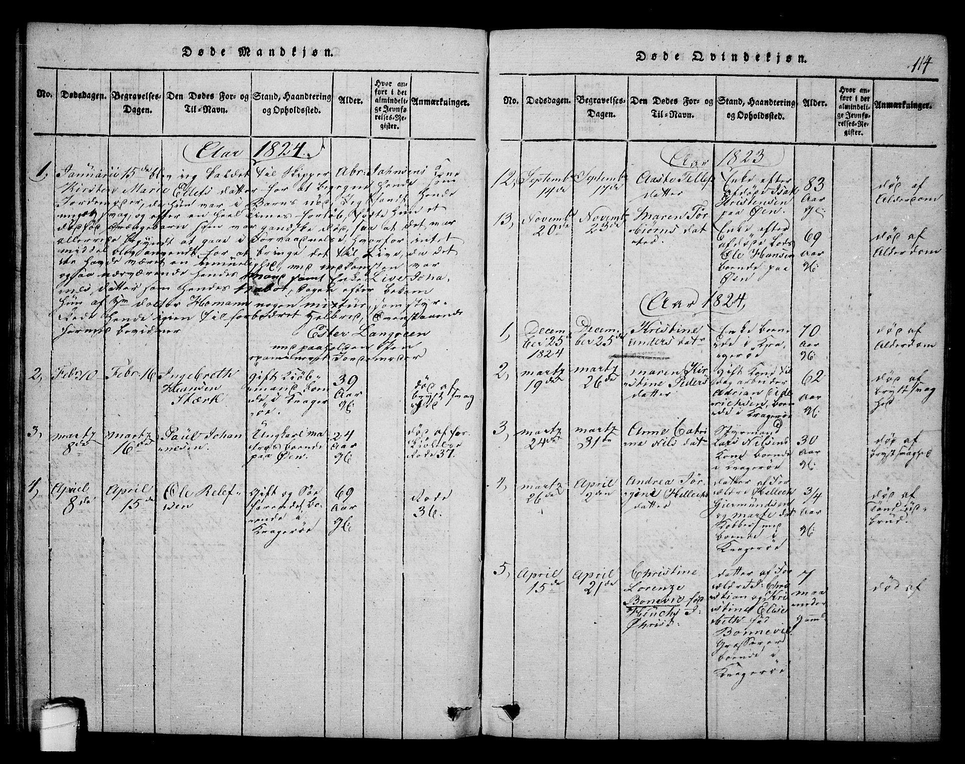 SAKO, Kragerø kirkebøker, F/Fa/L0004: Ministerialbok nr. 4, 1814-1831, s. 114