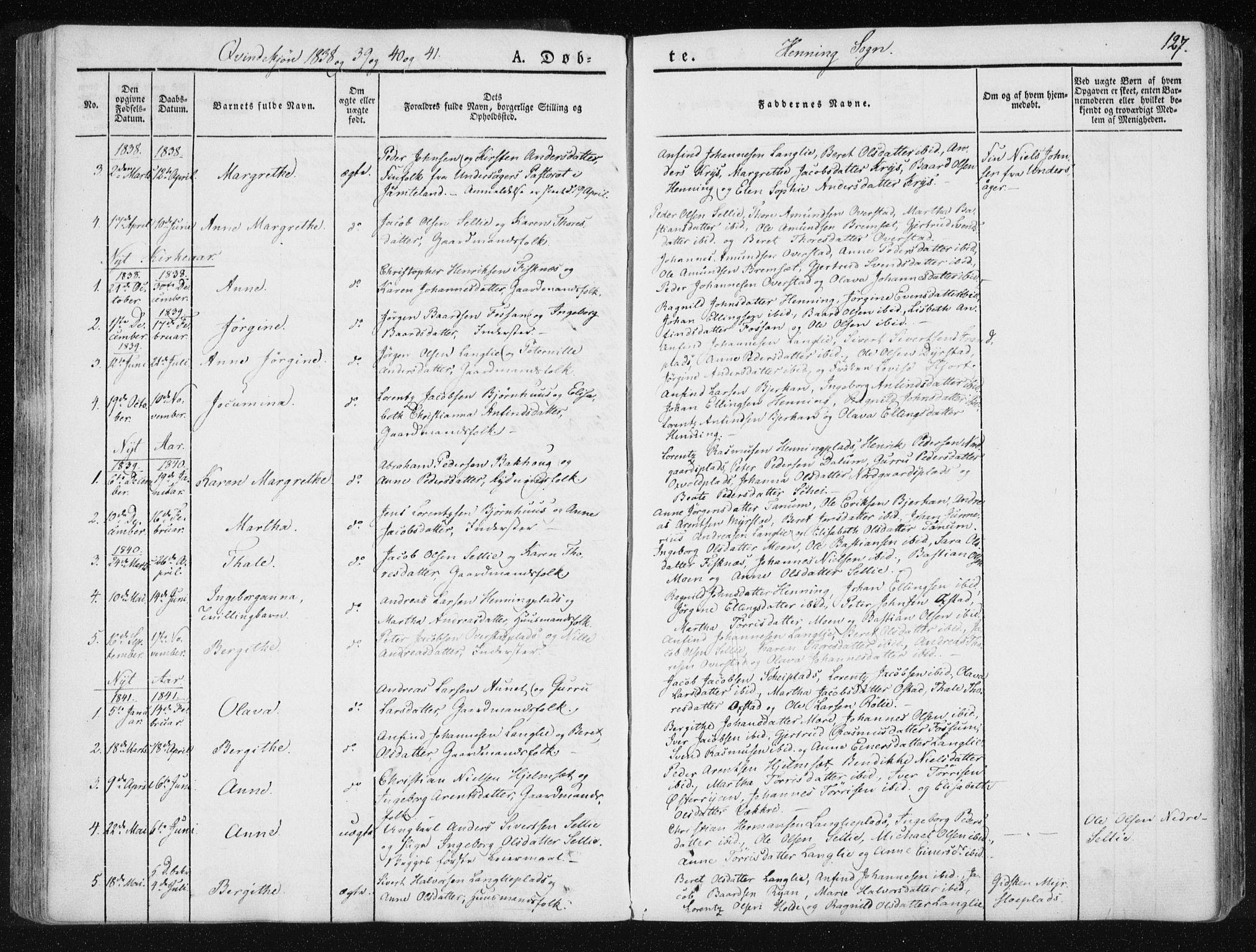 SAT, Ministerialprotokoller, klokkerbøker og fødselsregistre - Nord-Trøndelag, 735/L0339: Ministerialbok nr. 735A06 /3, 1836-1848, s. 127