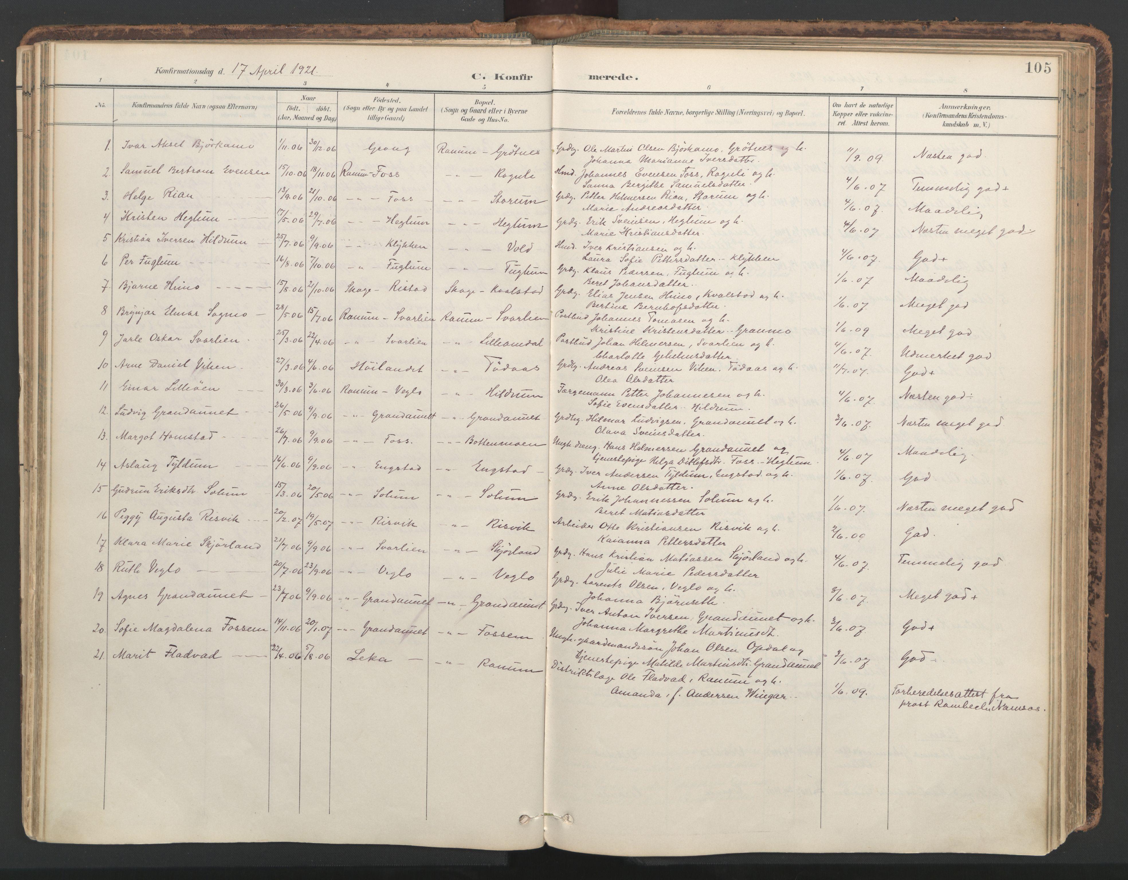 SAT, Ministerialprotokoller, klokkerbøker og fødselsregistre - Nord-Trøndelag, 764/L0556: Ministerialbok nr. 764A11, 1897-1924, s. 105