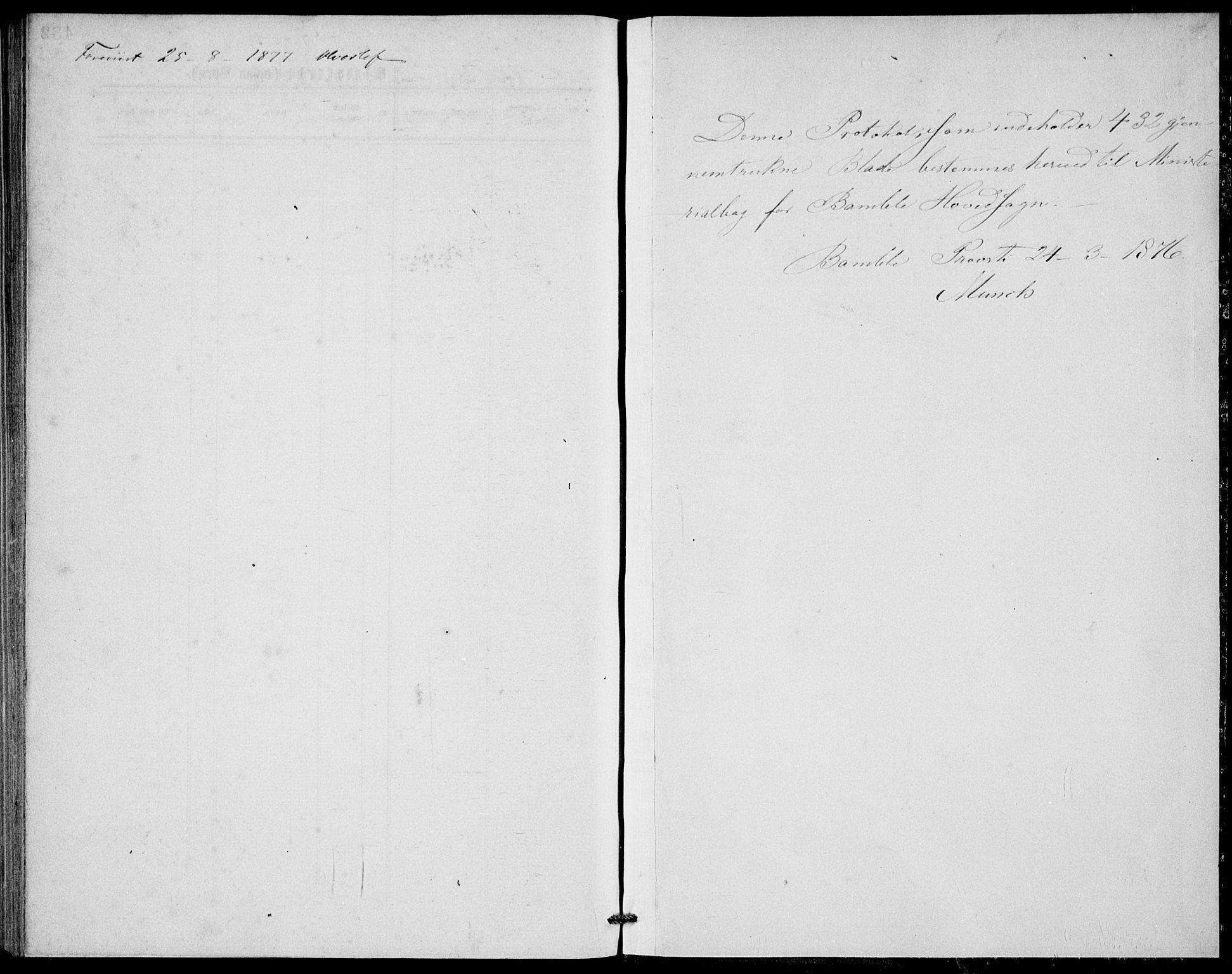 SAKO, Bamble kirkebøker, G/Ga/L0007: Klokkerbok nr. I 7, 1876-1877