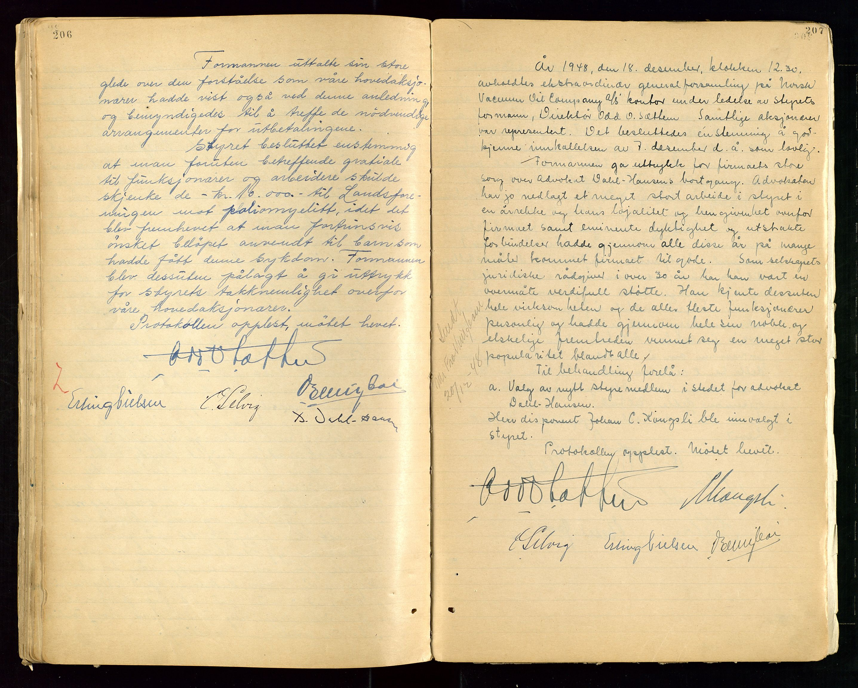 """SAST, PA 1513 - Norsk Vacuum Oil Company A/S, A/L0001: """"Generalforsamlings og styreprotokoll"""" fra 27/4-1918 til 6/4-1949, 1918-1949, s. 206-207"""