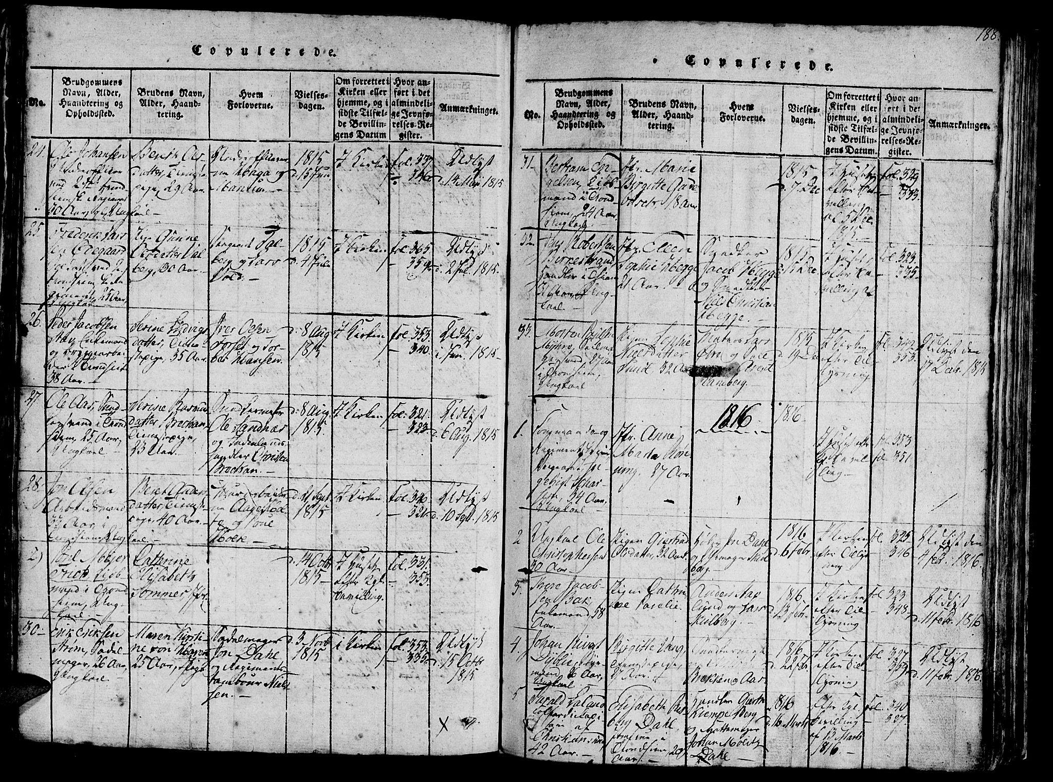 SAT, Ministerialprotokoller, klokkerbøker og fødselsregistre - Sør-Trøndelag, 602/L0135: Klokkerbok nr. 602C03, 1815-1832, s. 188