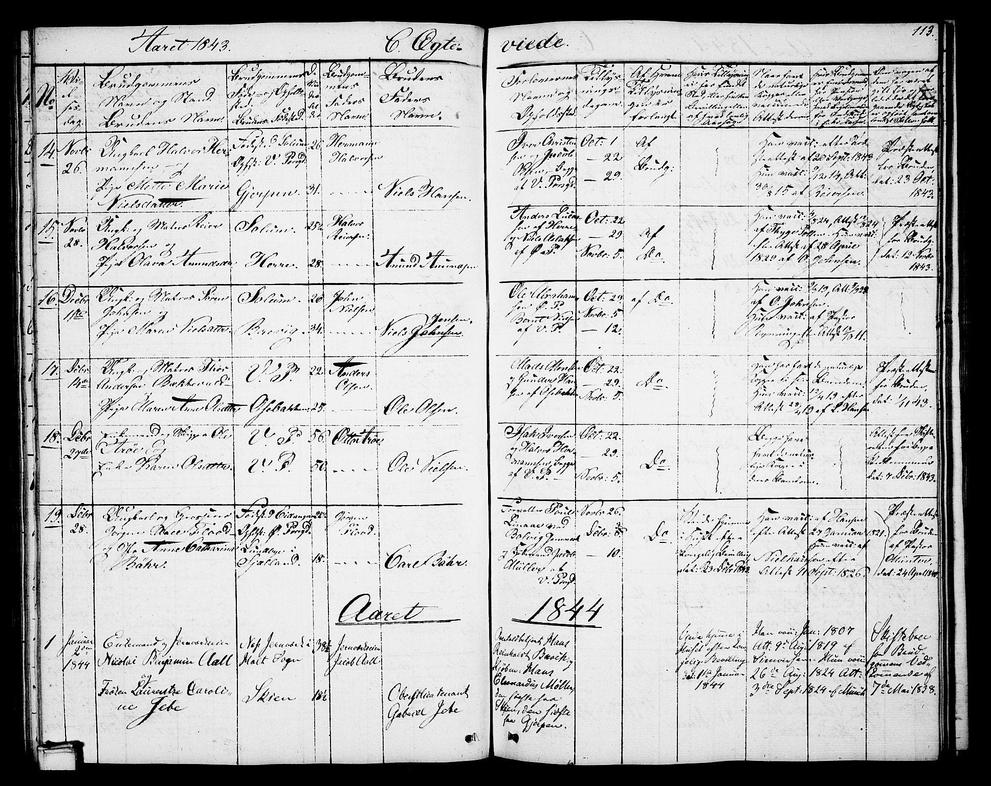 SAKO, Porsgrunn kirkebøker , G/Gb/L0003: Klokkerbok nr. II 3, 1841-1852, s. 113