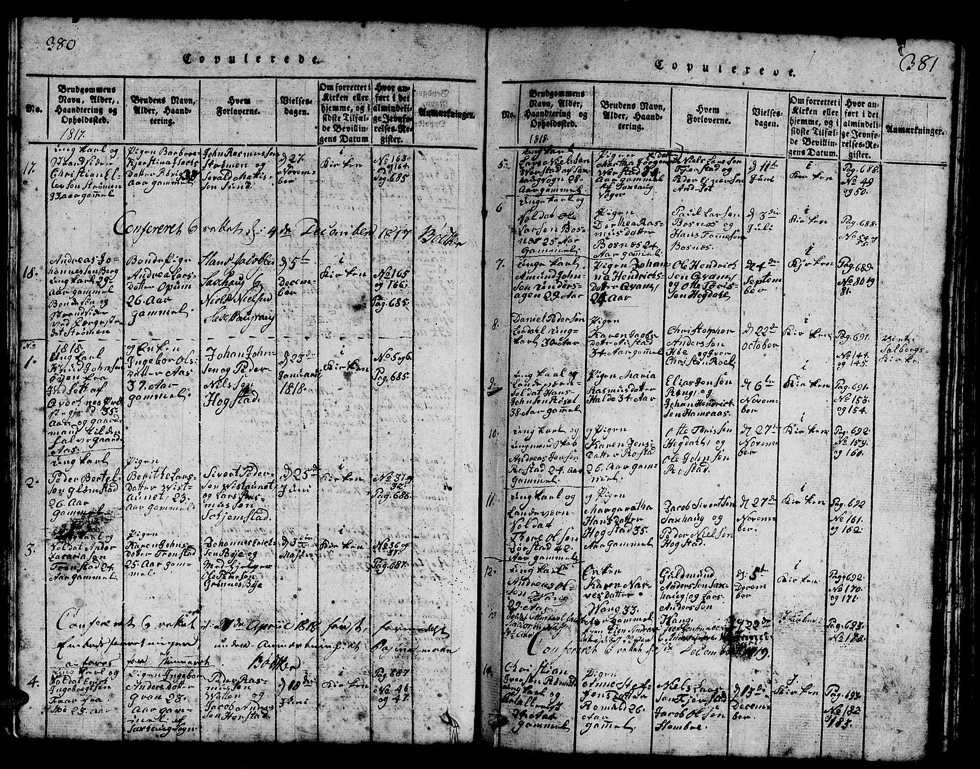 SAT, Ministerialprotokoller, klokkerbøker og fødselsregistre - Nord-Trøndelag, 730/L0298: Klokkerbok nr. 730C01, 1816-1849, s. 380-381
