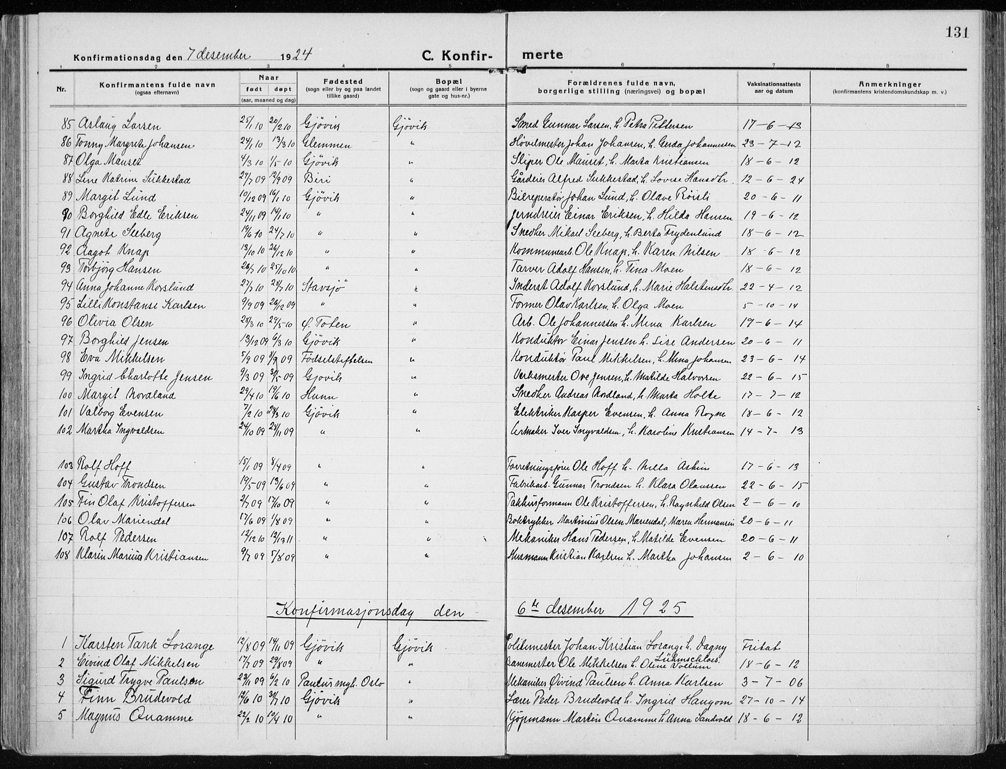 SAH, Vardal prestekontor, H/Ha/Haa/L0015: Ministerialbok nr. 15, 1923-1937, s. 131