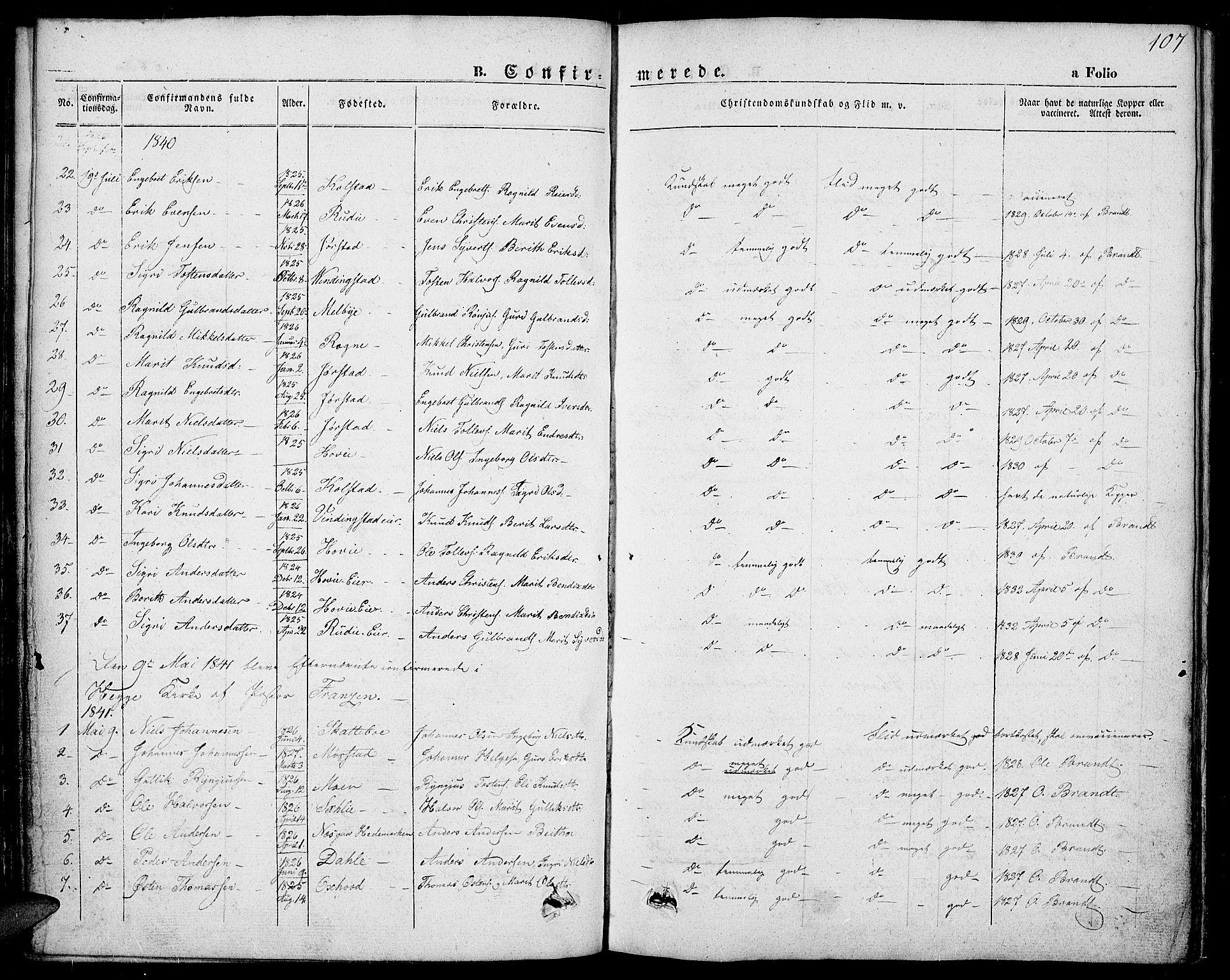 SAH, Slidre prestekontor, Ministerialbok nr. 4, 1831-1848, s. 107