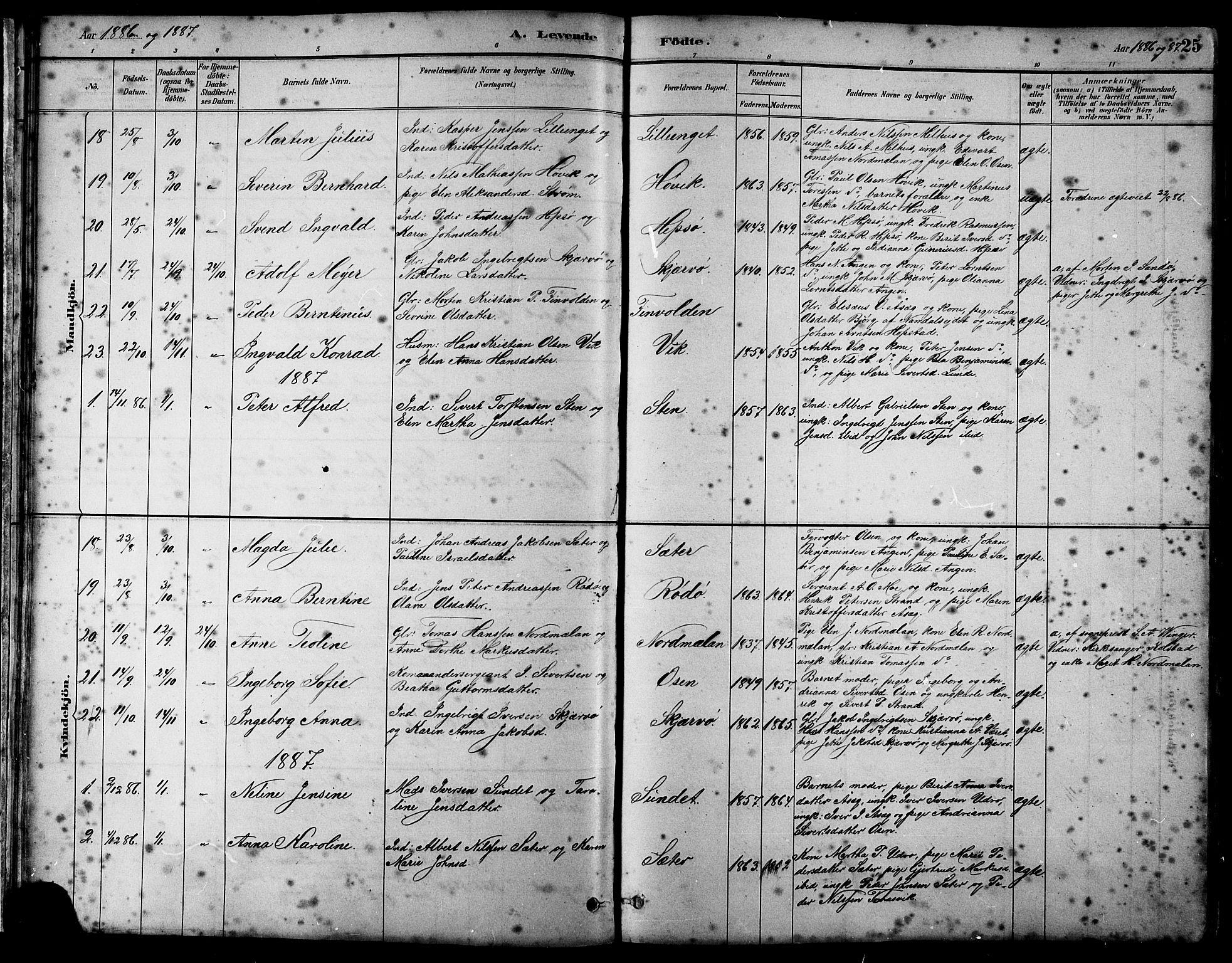 SAT, Ministerialprotokoller, klokkerbøker og fødselsregistre - Sør-Trøndelag, 658/L0726: Klokkerbok nr. 658C02, 1883-1908, s. 25