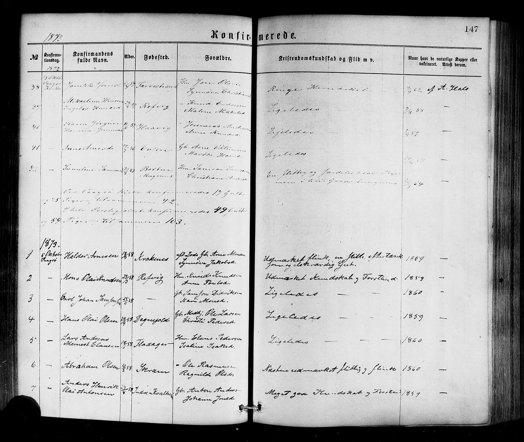 SAB, Selje sokneprestembete*, Ministerialbok nr. A 12, 1870-1880, s. 147