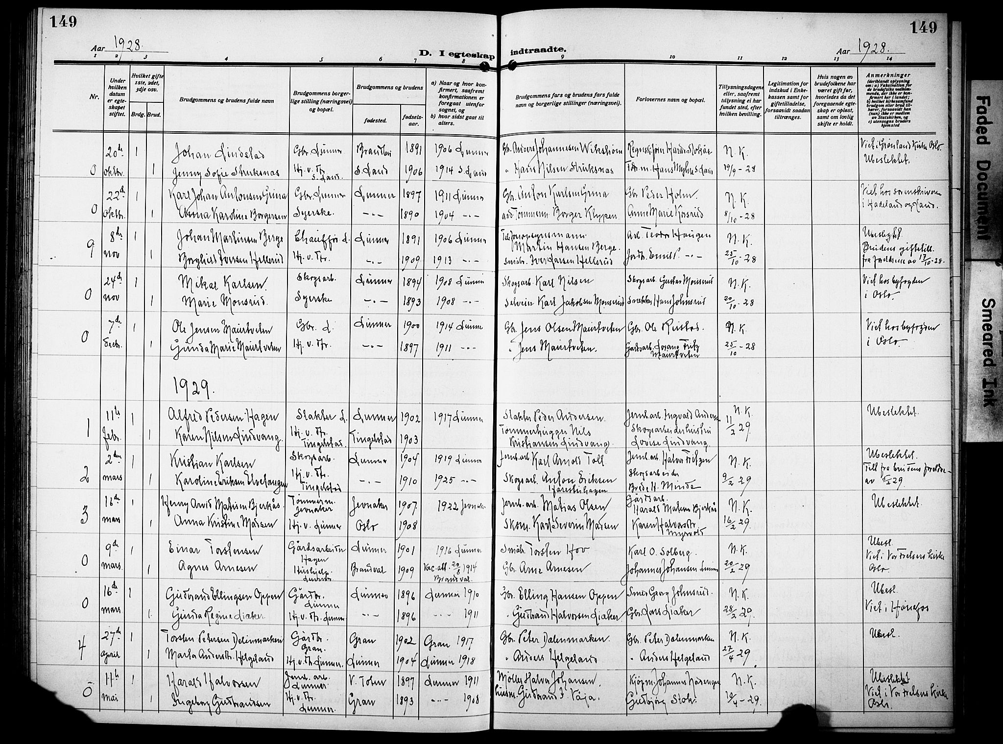 SAH, Lunner prestekontor, H/Ha/Hab/L0002: Klokkerbok nr. 2, 1923-1933, s. 149
