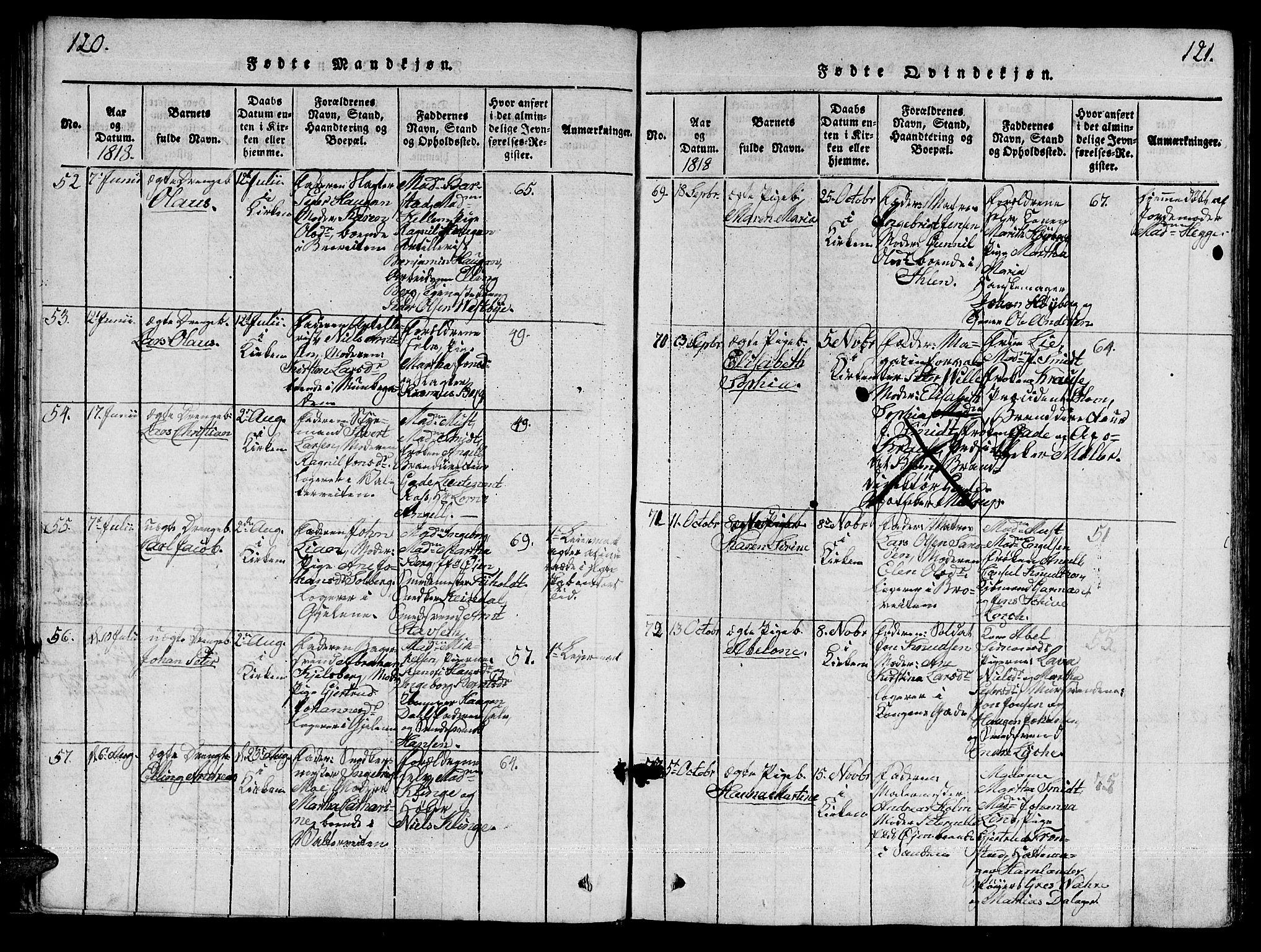 SAT, Ministerialprotokoller, klokkerbøker og fødselsregistre - Sør-Trøndelag, 601/L0043: Ministerialbok nr. 601A11, 1815-1821, s. 120-121